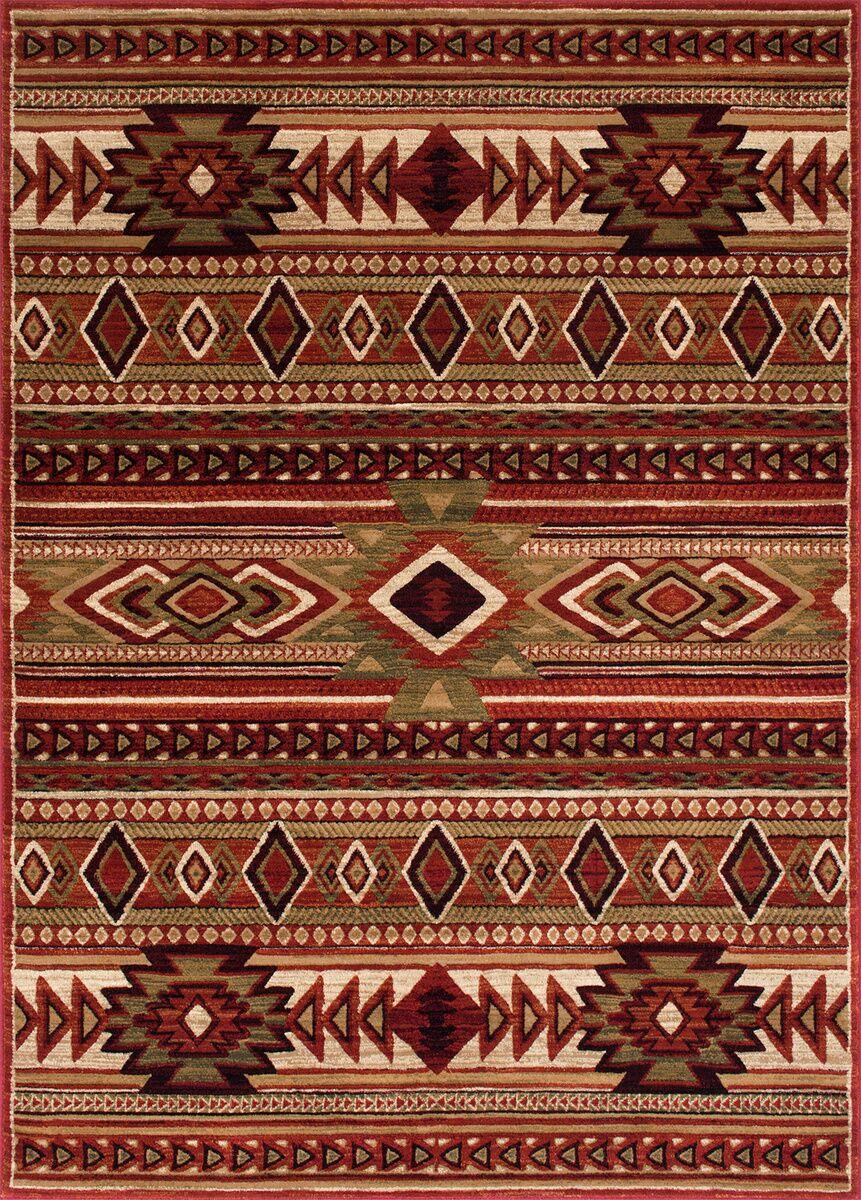 Cima Tribal Style Red Rust Area Rug