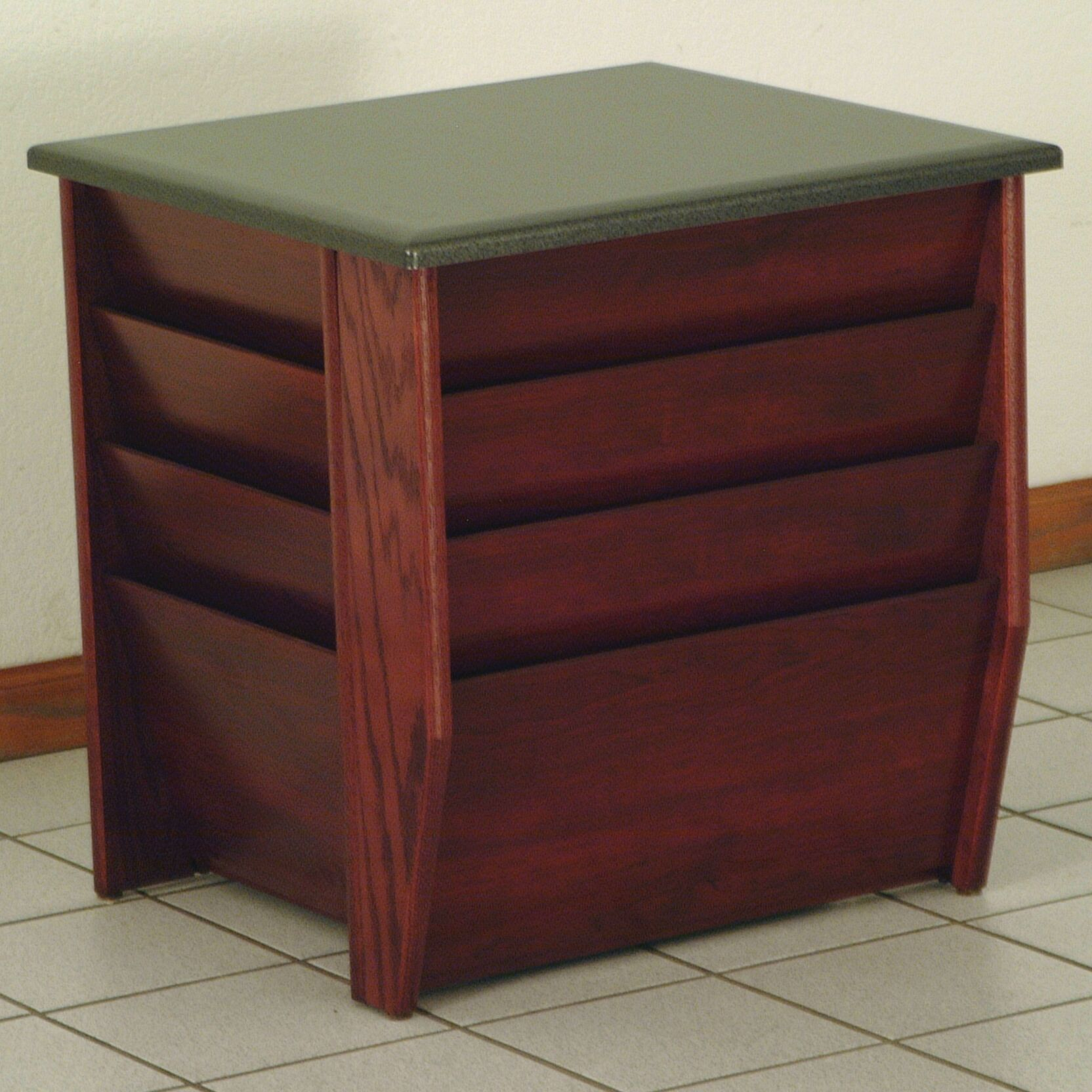Dakota Wave End Table with Magazine Pockets Color: Dark Red Mahogany