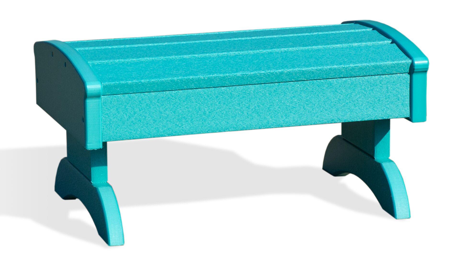 Kelley Poly Footstool Ottoman Color: Aruba Blue