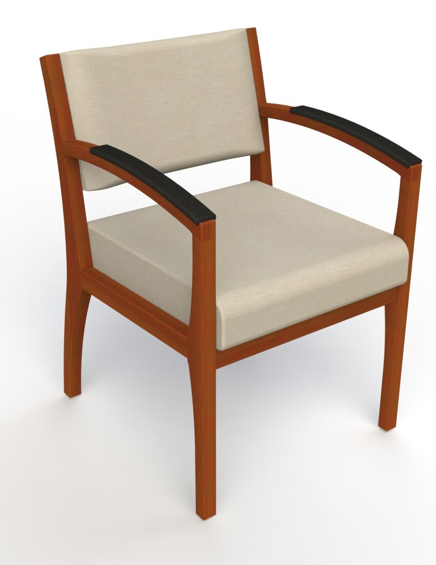 Itasca Wall Guard Back Leg Guest Chair Arm Options: Padded, Seat Color: Script Linen, Finish: Light Cherry