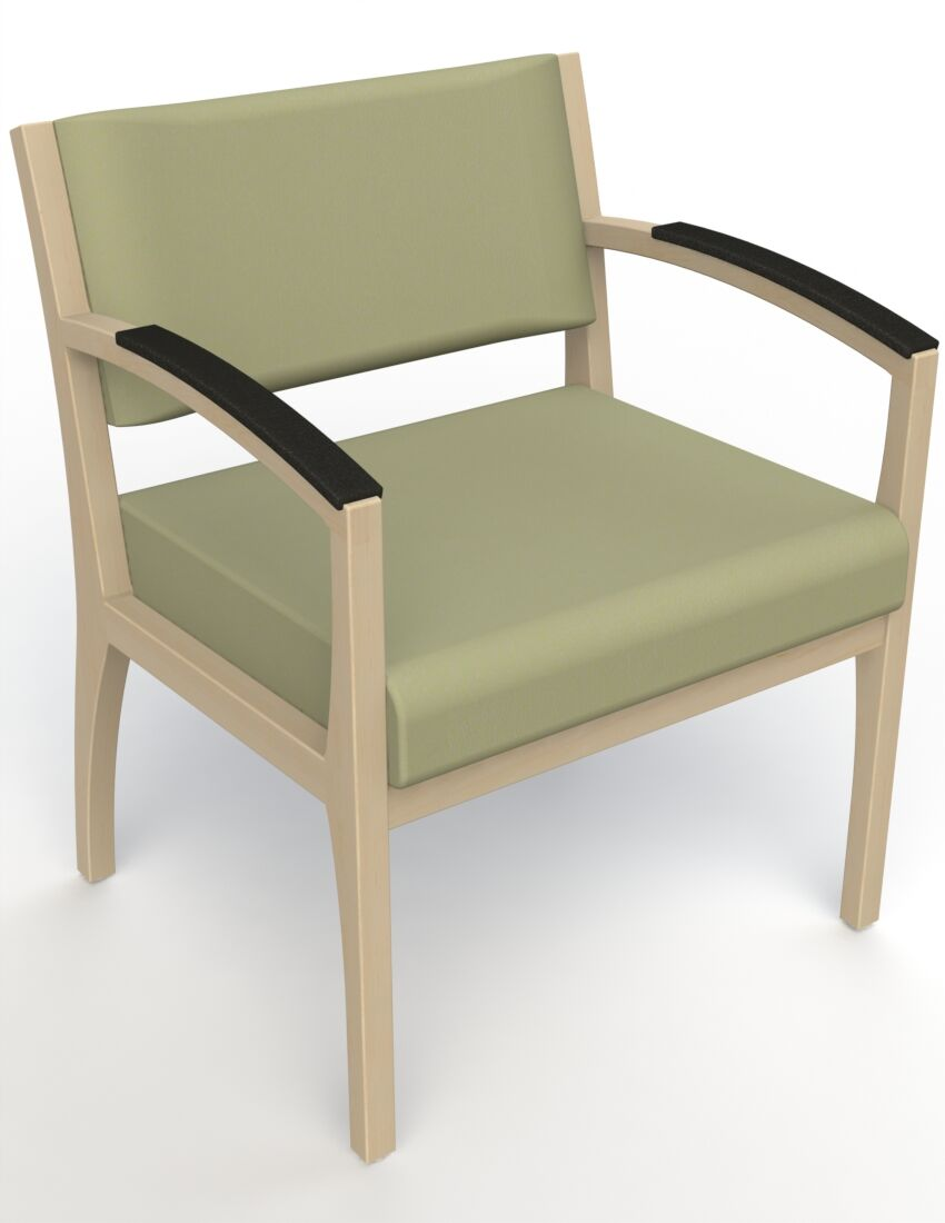 Itasca Wall Guard Back Leg Guest Chair Arm Options: Padded, Seat Color: Avant Sage, Finish: Natural