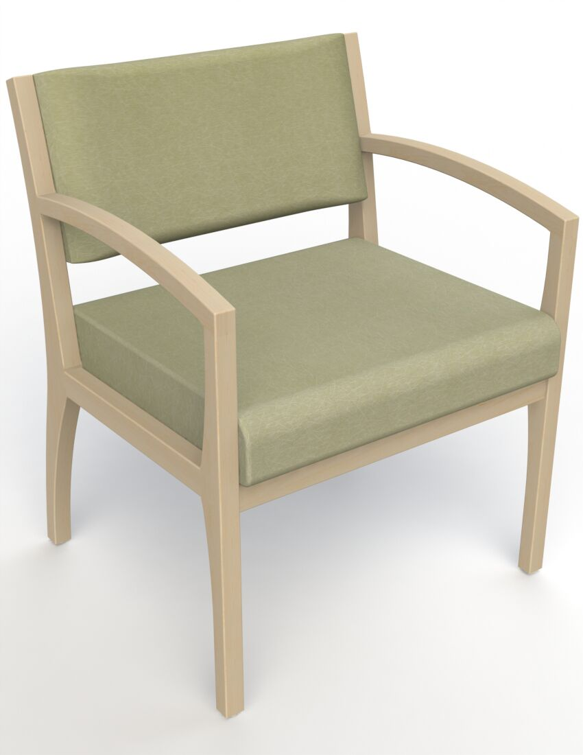 Itasca Wall Guard Back Leg Guest Chair Arm Options: Straight, Seat Color: Script Palm, Finish: Natural