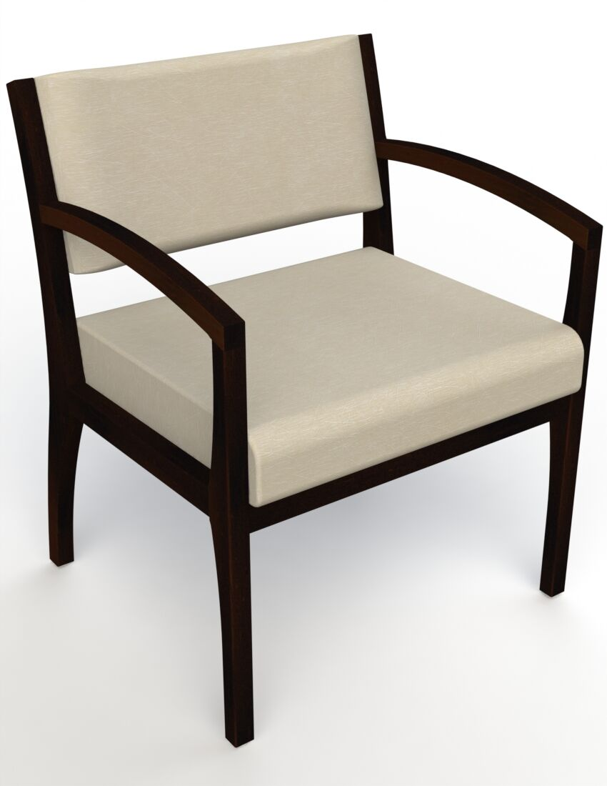 Itasca Wall Guard Back Leg Guest Chair Seat Color: Script Linen, Arm Options: Straight, Finish: Espresso