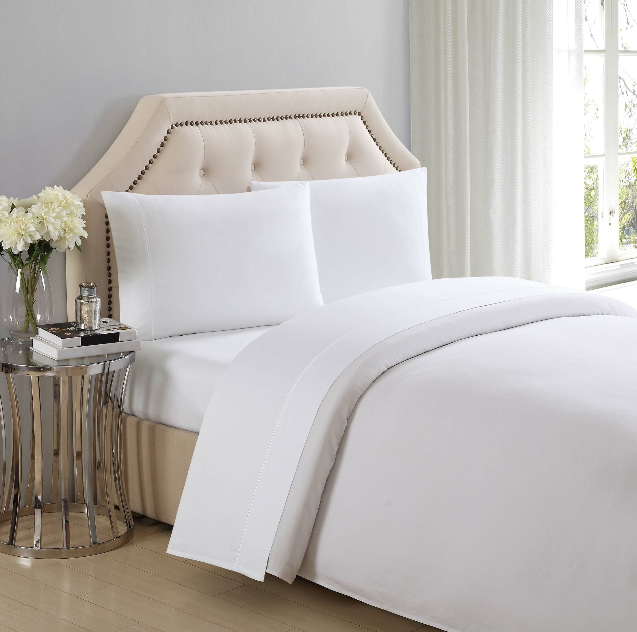 4 Piece 310 Thread Count Cotton Sheet Set Color: Bright White, Size: Queen
