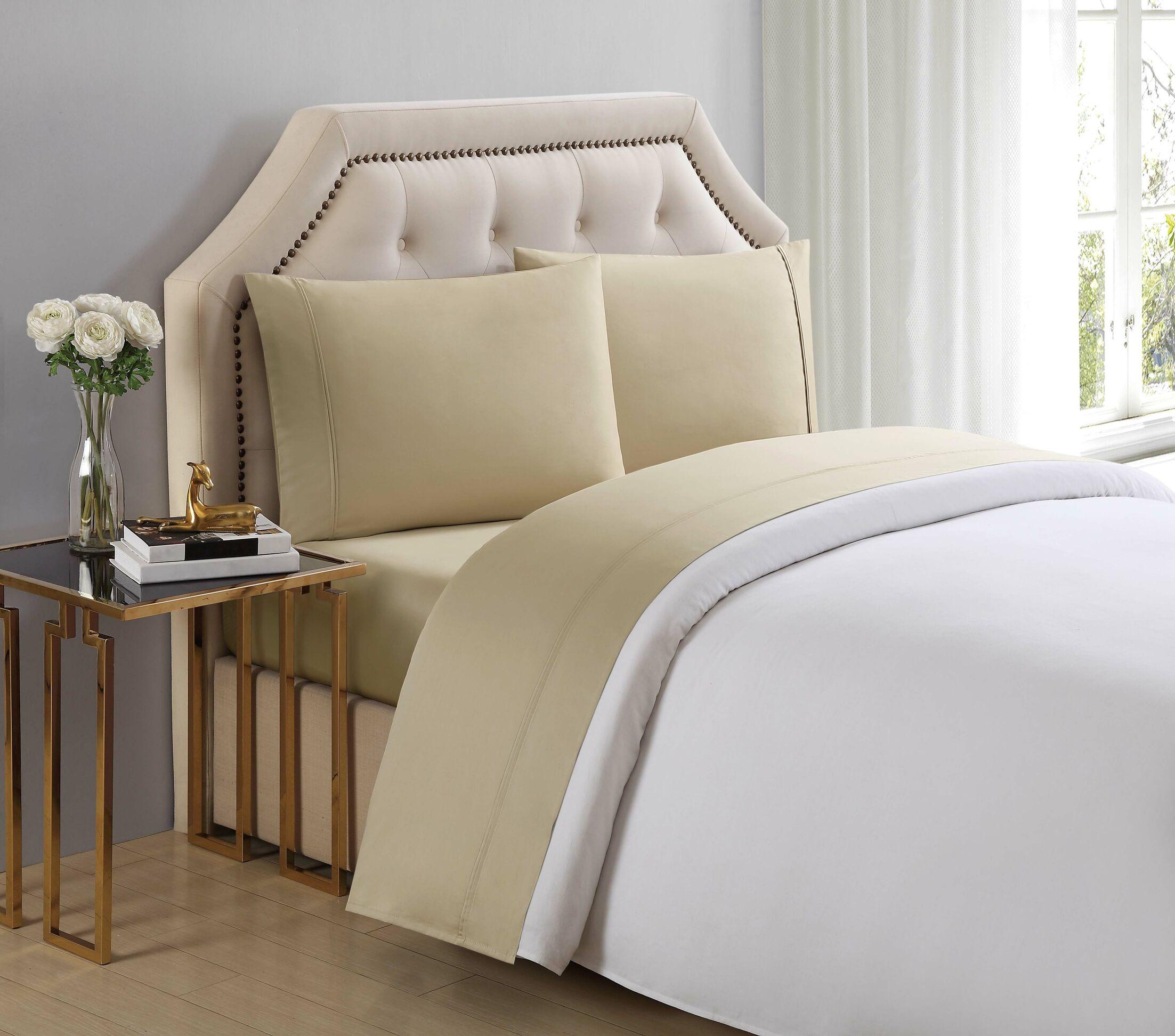 4 Piece 510 Thread Count Cotton Sheet Set Color: Pale Khaki, Size: King
