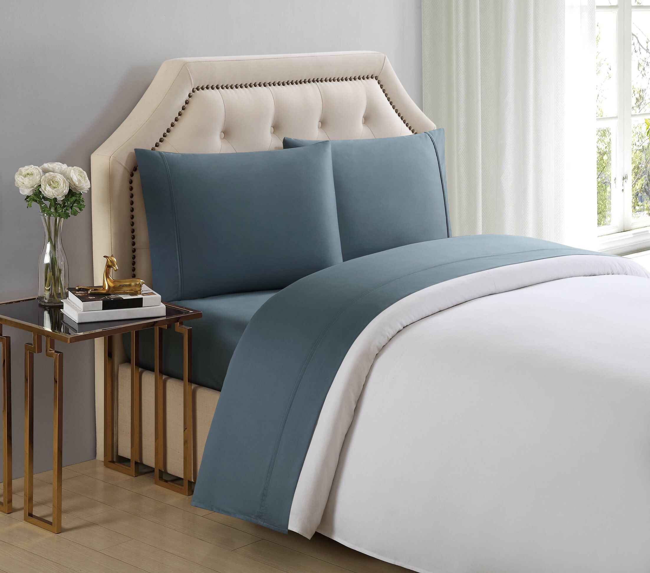 4 Piece 510 Thread Count Cotton Sheet Set Color: Trooper, Size: California King