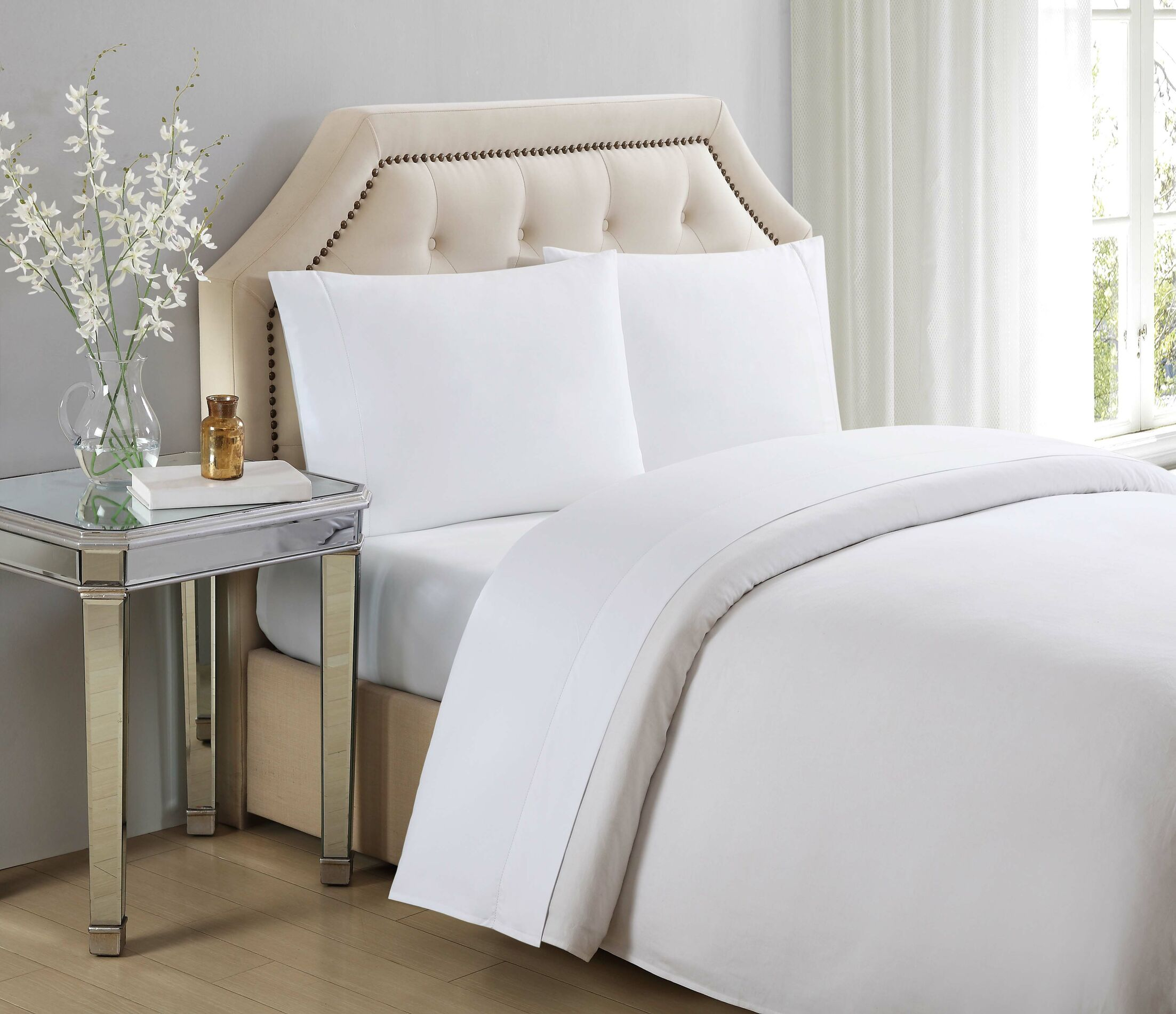 610 Thread Count 100% Cotton Sheet Set Color: Bright White, Size: Queen