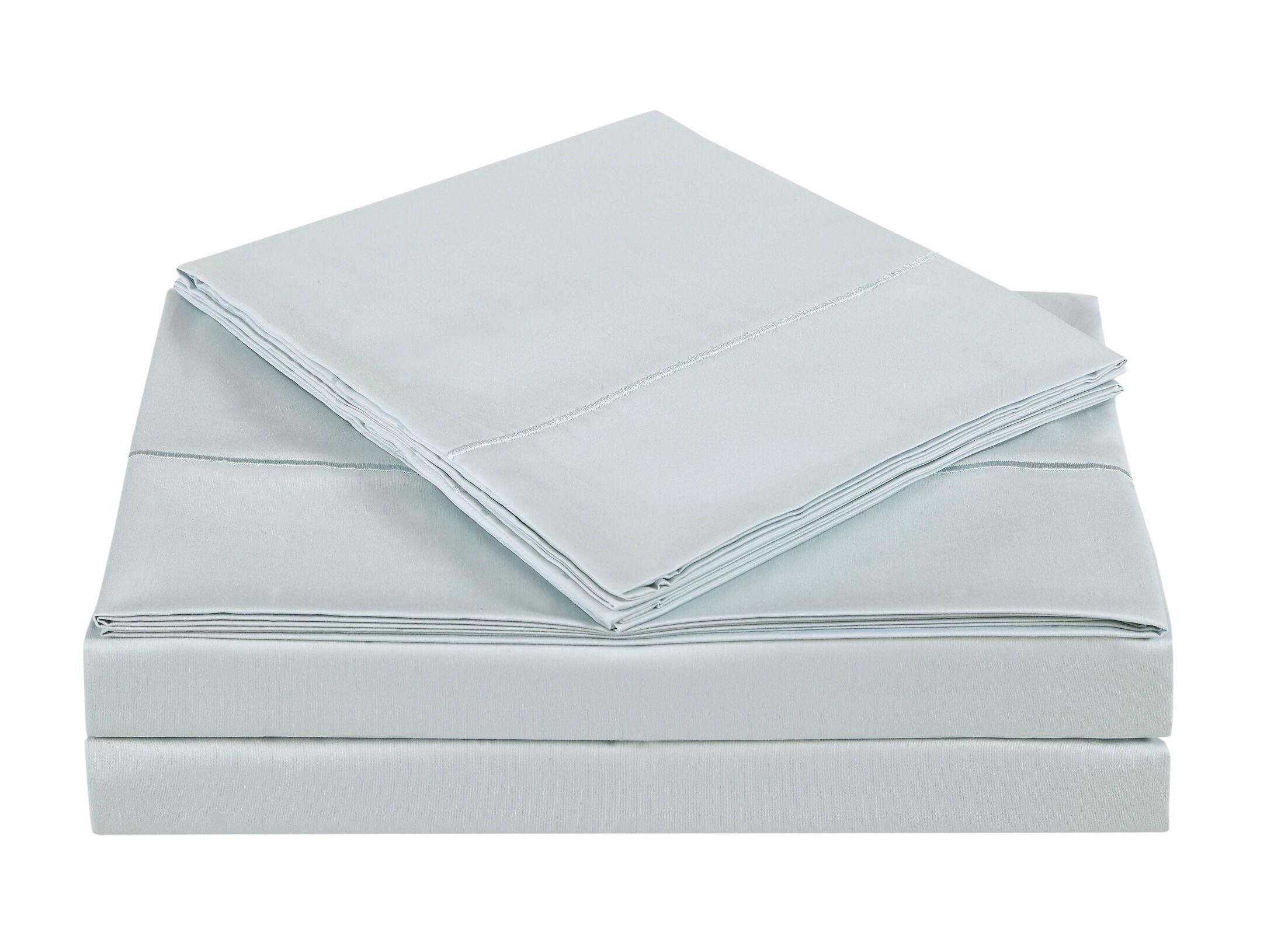 4 Piece 310 Thread Count Cotton Sheet Set Color: Dawn Blue, Size: California King