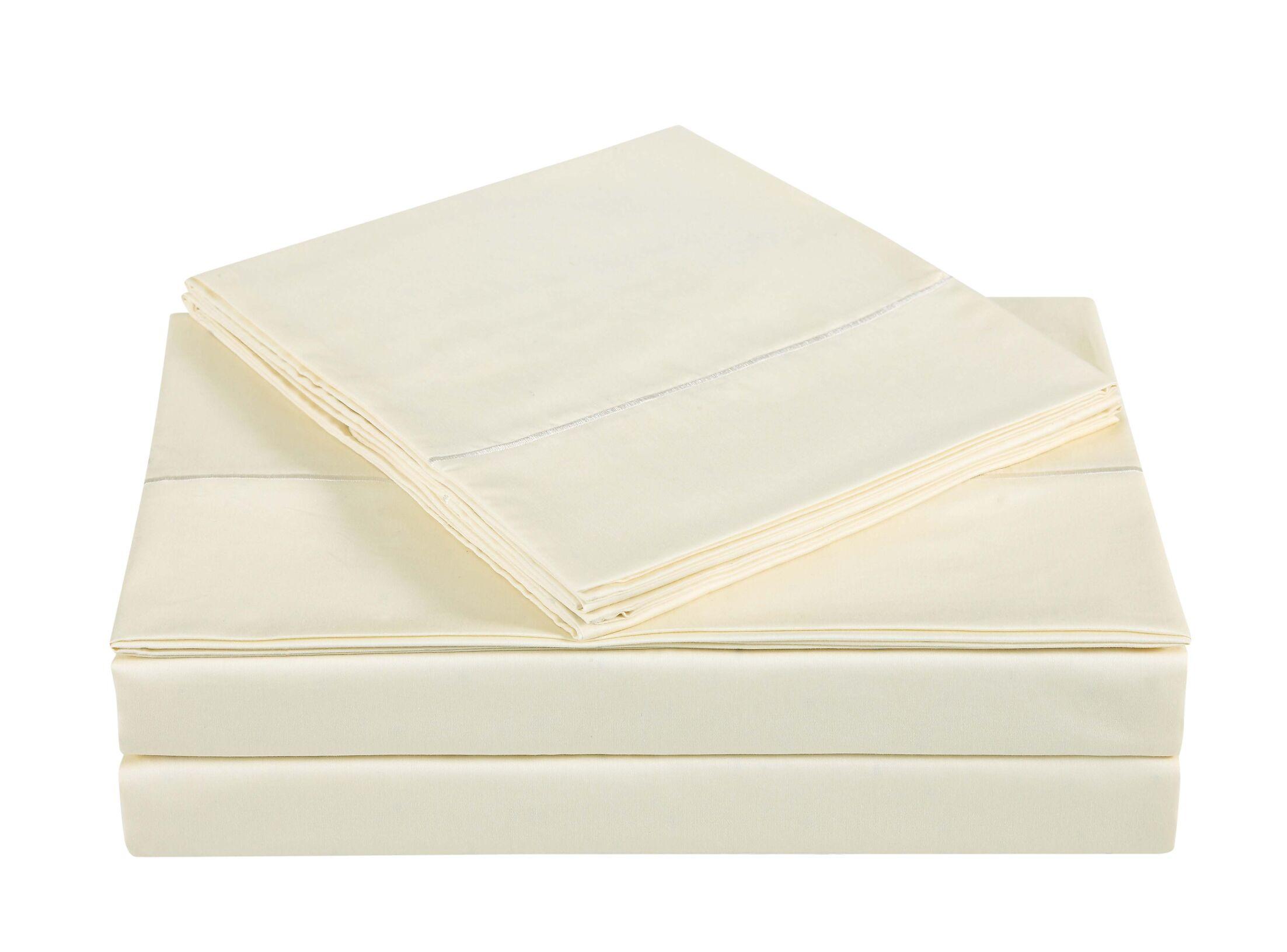 4 Piece 310 Thread Count Cotton Sheet Set Color: Sweet Corn, Size: King
