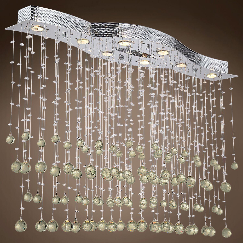 Drops of Rain 8-Light Cluster Pendant Crystal: Golden Teak European, Bulb Type: GU10