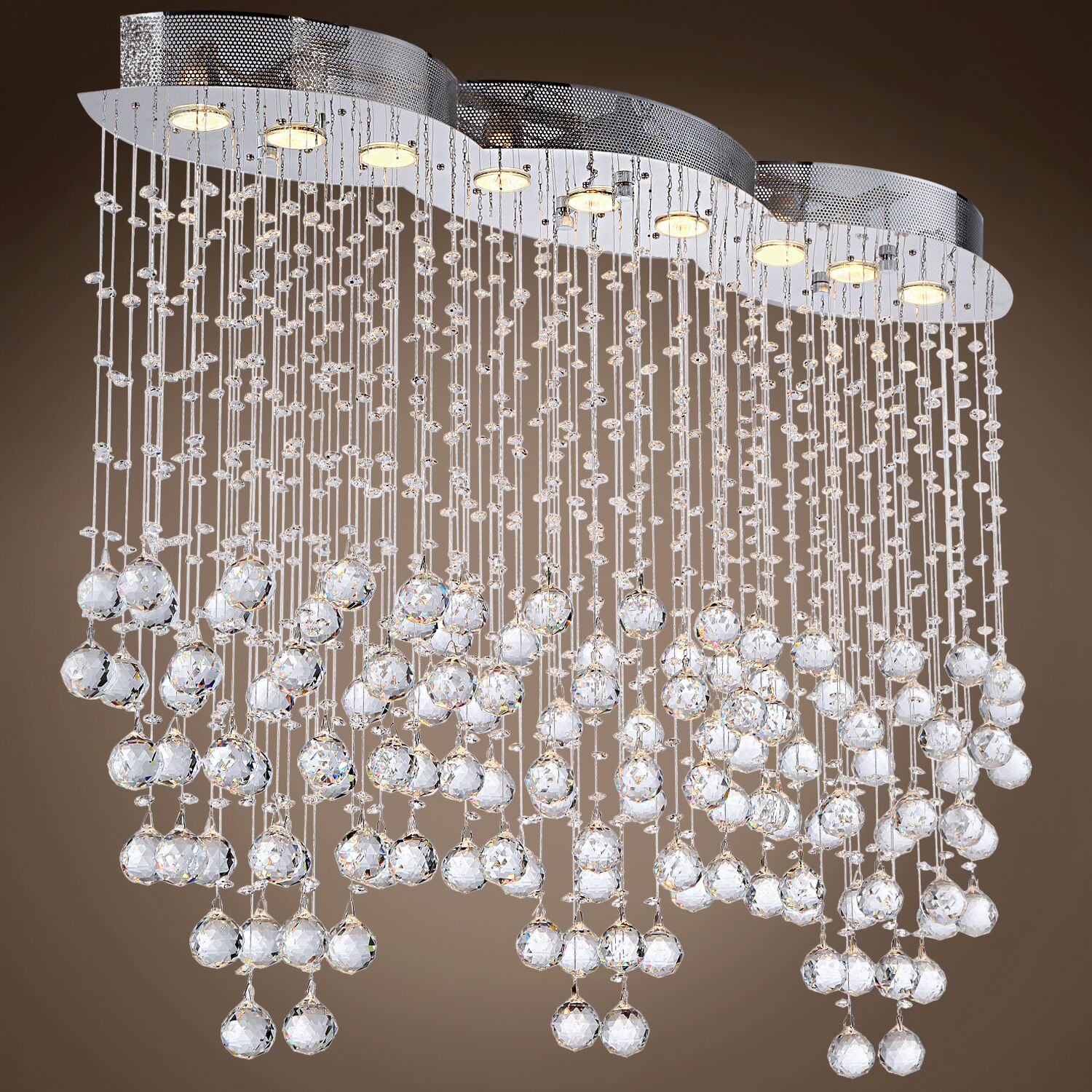 Drops of Rain 9-Light Cluster Pendant Crystal: Clear Asfour