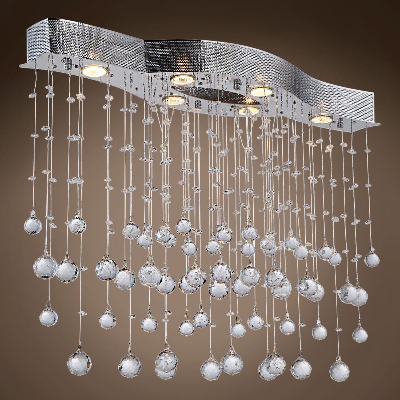 Drops of Rain 6-Light Cluster Pendant Crystal: Clear European, Bulb Type: GU10