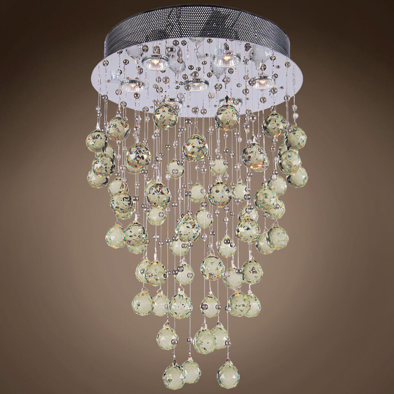 Drops of Rain 7-Light Cascade Pendant Finish: Golden Teak European, Bulb Type: GU10 LED