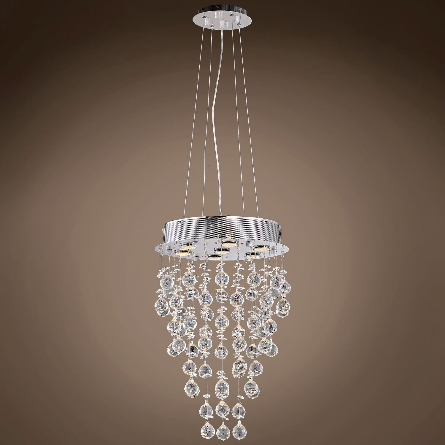 Drops of Rain 7-Light Cluster Pendant Crystal: Clear European