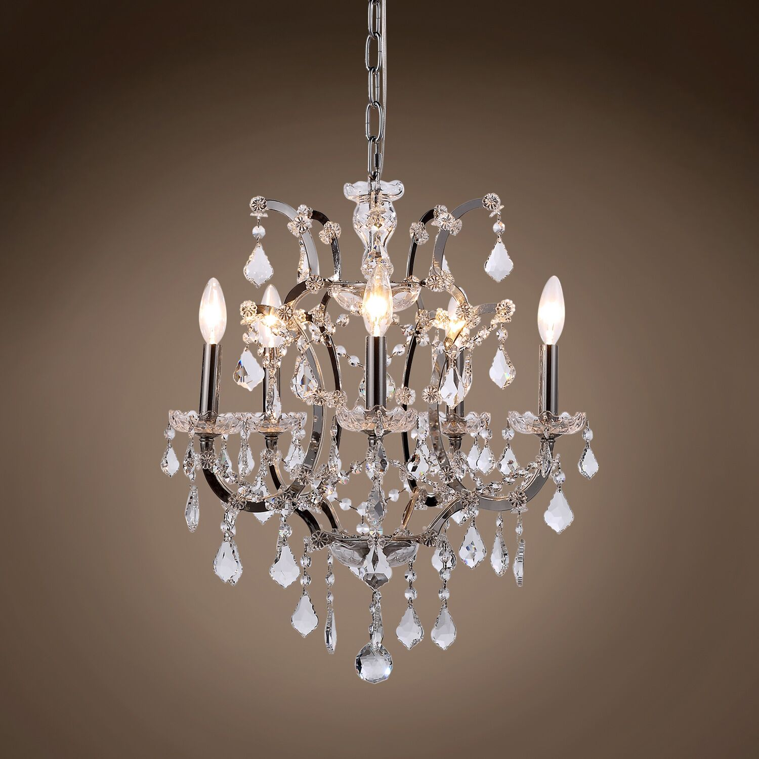 Chantrell 5-Light Chandelier Crystal Color: Clear, Finish: Polished Nickel