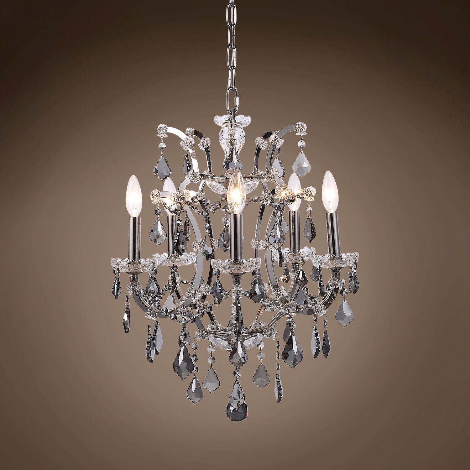 Chantrell 5-Light Chandelier Finish: Polished Nickel, Crystal Color: Smoke