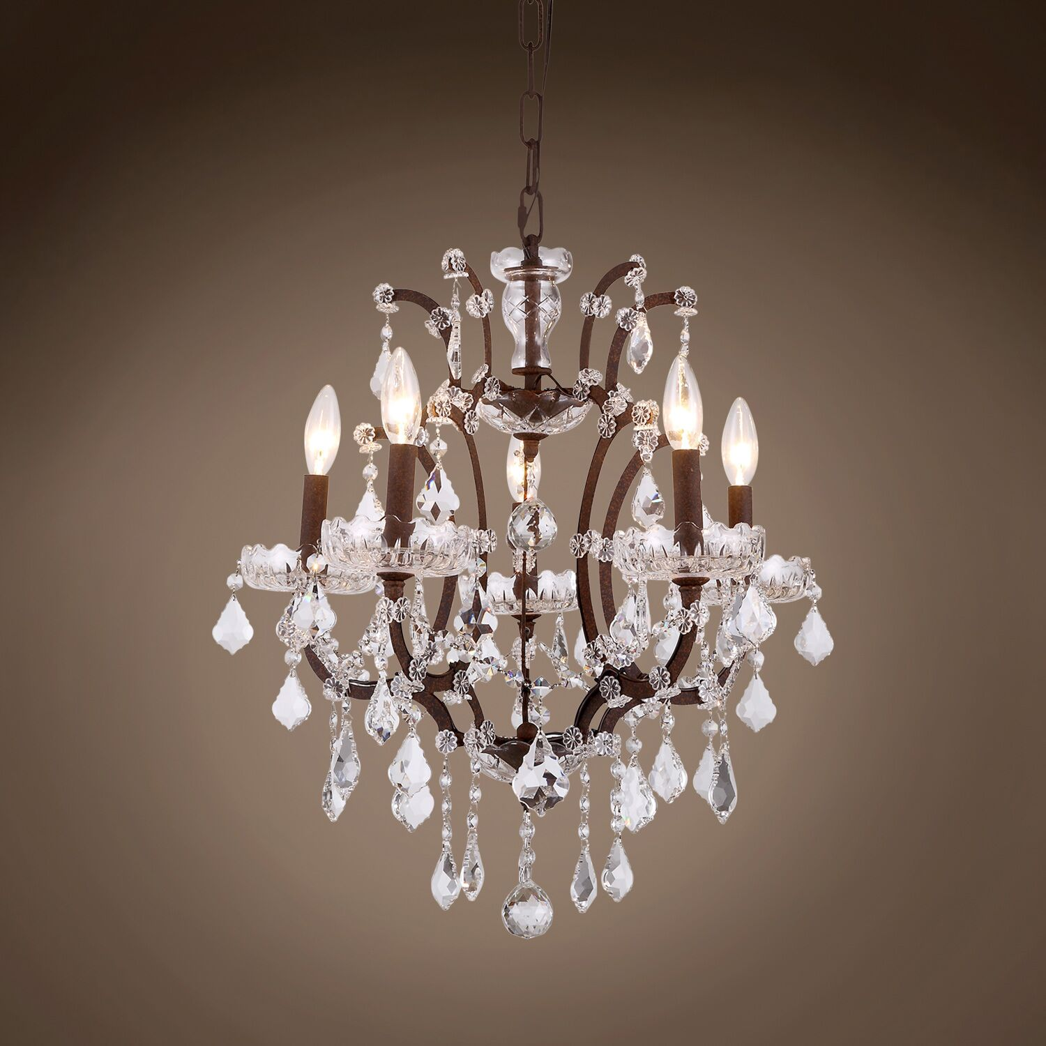 Chantrell 5-Light Chandelier Crystal Color: Clear, Finish: Rustic Iron
