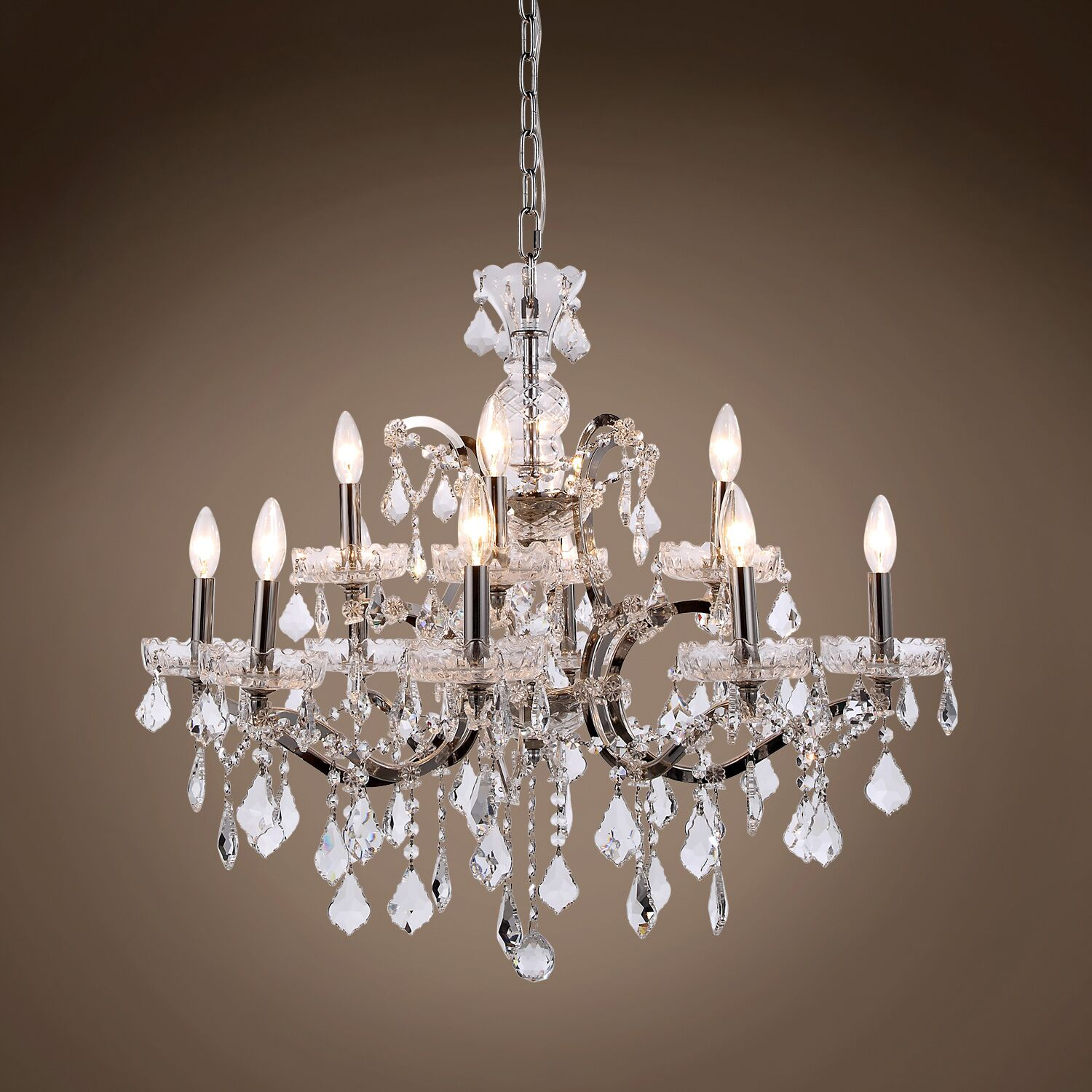 Chantrell 12-Light Chandelier Crystal Color: Clear, Finish: Polished Nickel