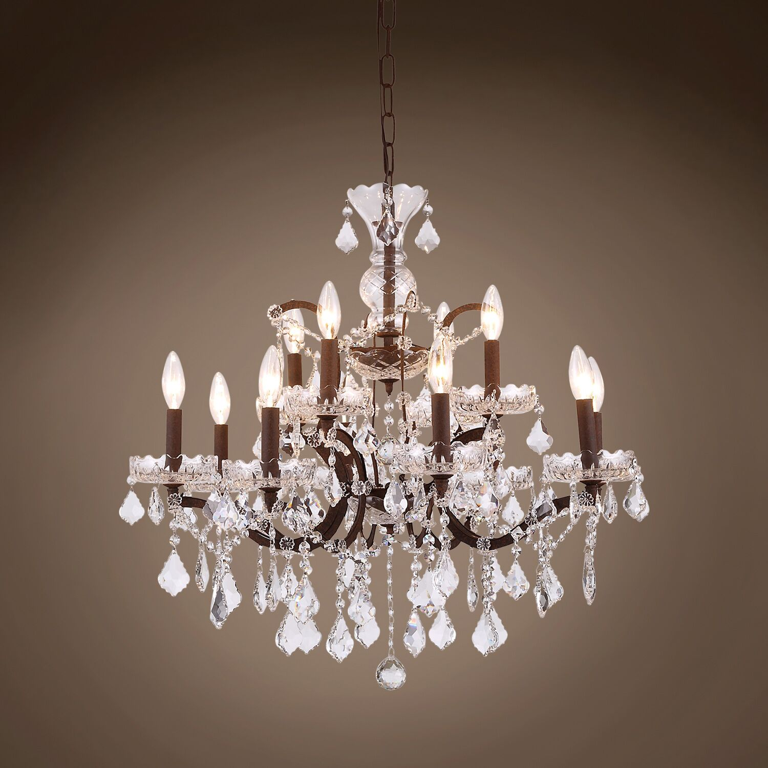 Chantrell 12-Light Chandelier Crystal Color: Clear, Finish: Rustic Iron