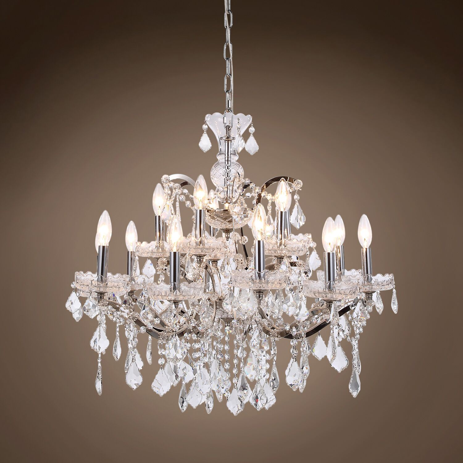 Chantrell 15-Light Chandelier Crystal Color: Clear, Finish: Polished Nickel