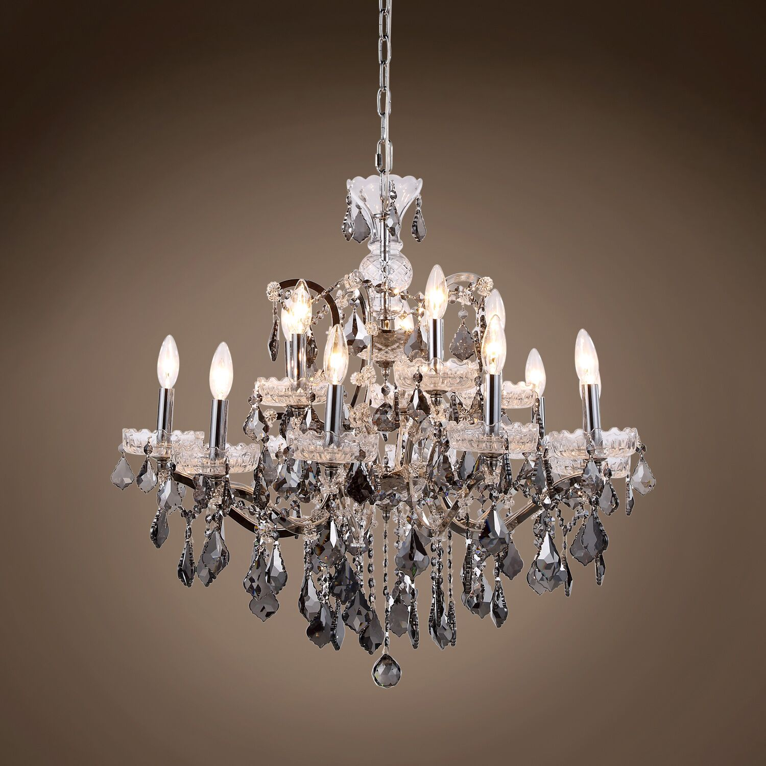 Chantrell 15-Light Chandelier Finish: Polished Nickel, Crystal Color: Smoke