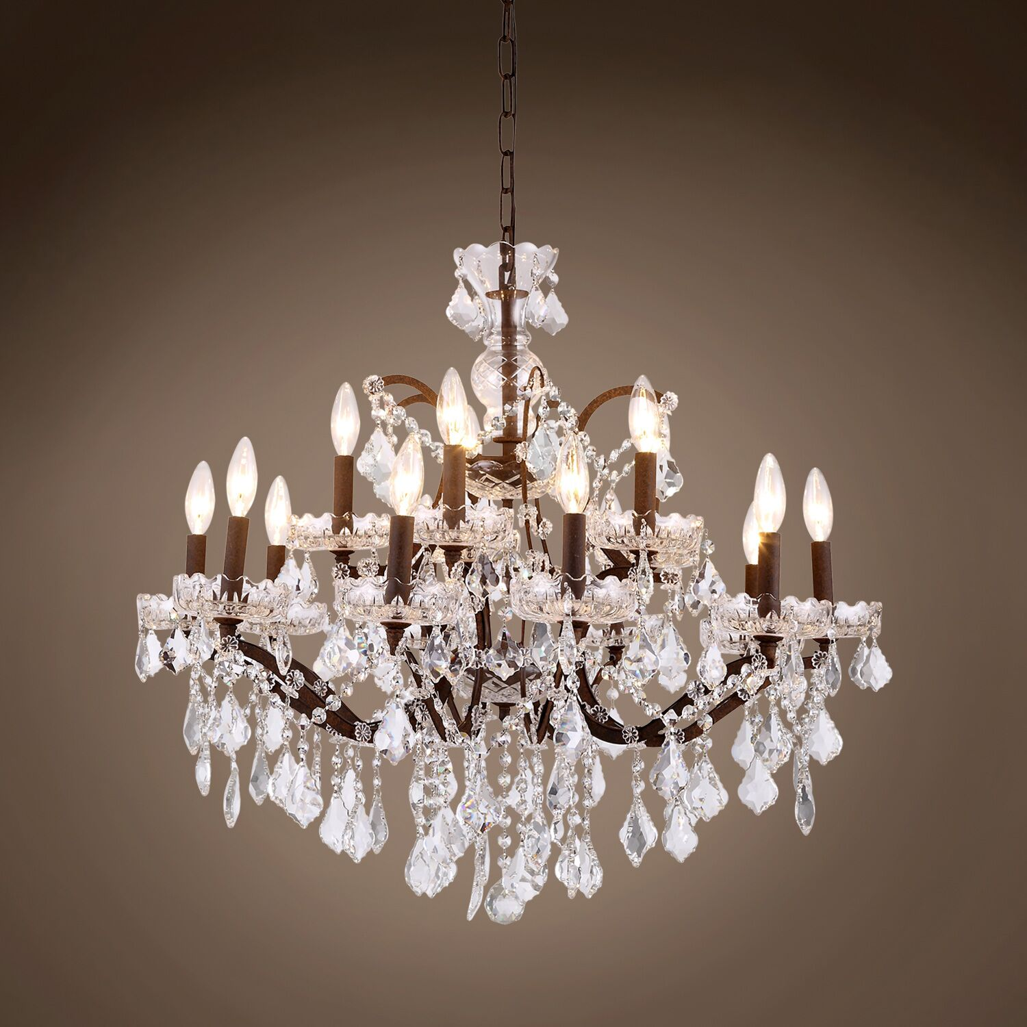Chantrell 15-Light Chandelier Crystal Color: Clear, Finish: Rustic Iron