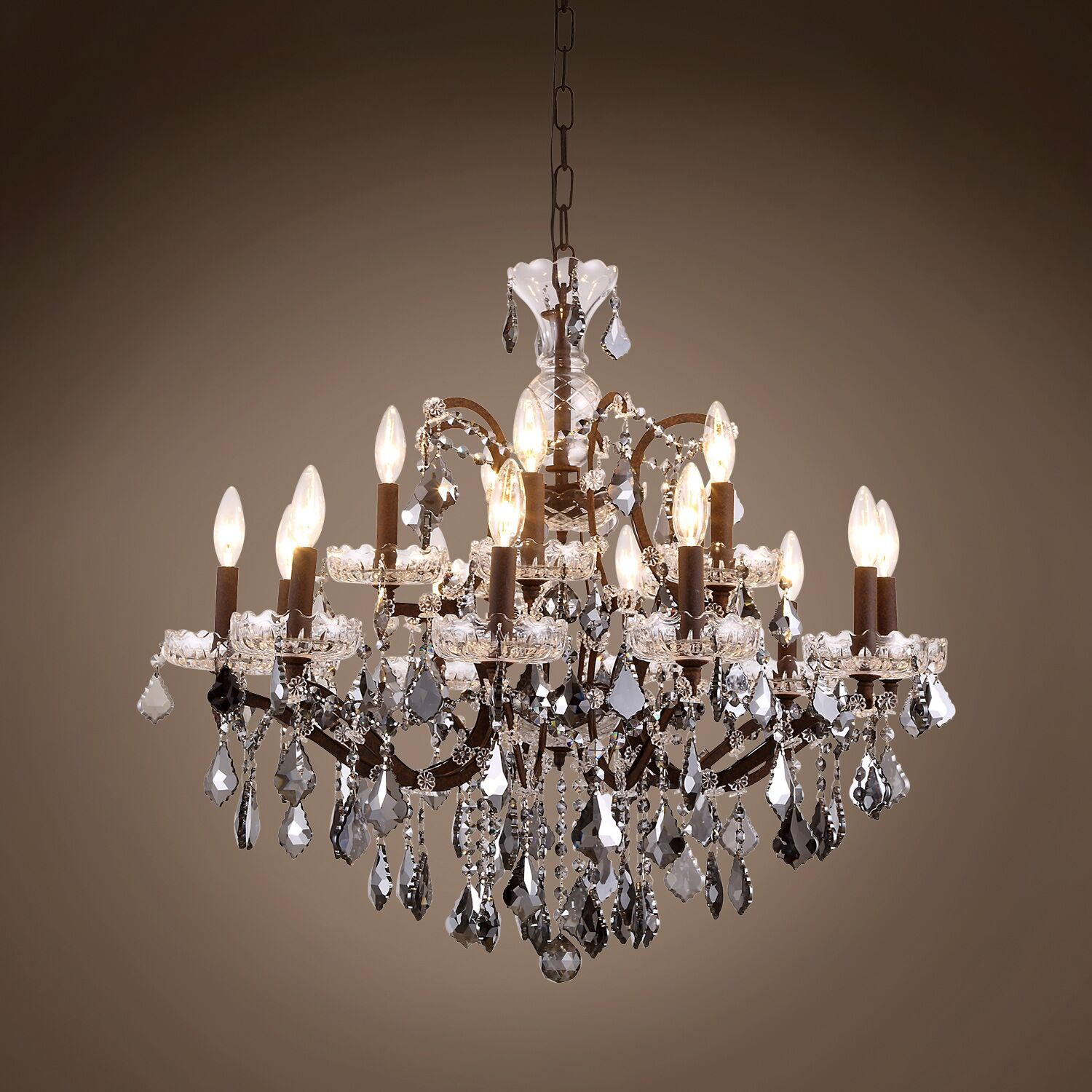 Chantrell 15-Light Chandelier Finish: Rustic Iron, Crystal Color: Smoke