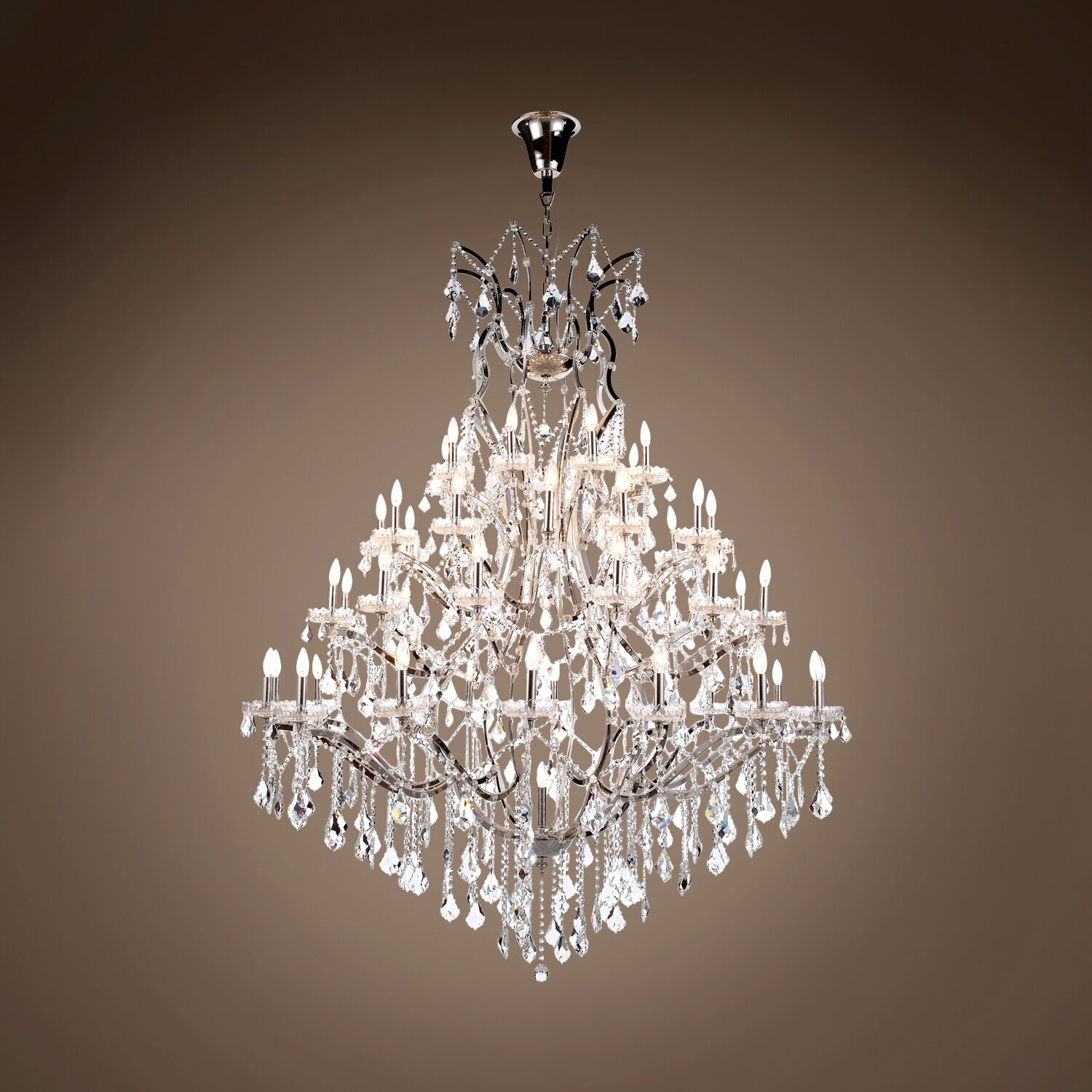 Chantrell 49-Light Chandelier Crystal Color: Clear, Finish: Polished Nickel