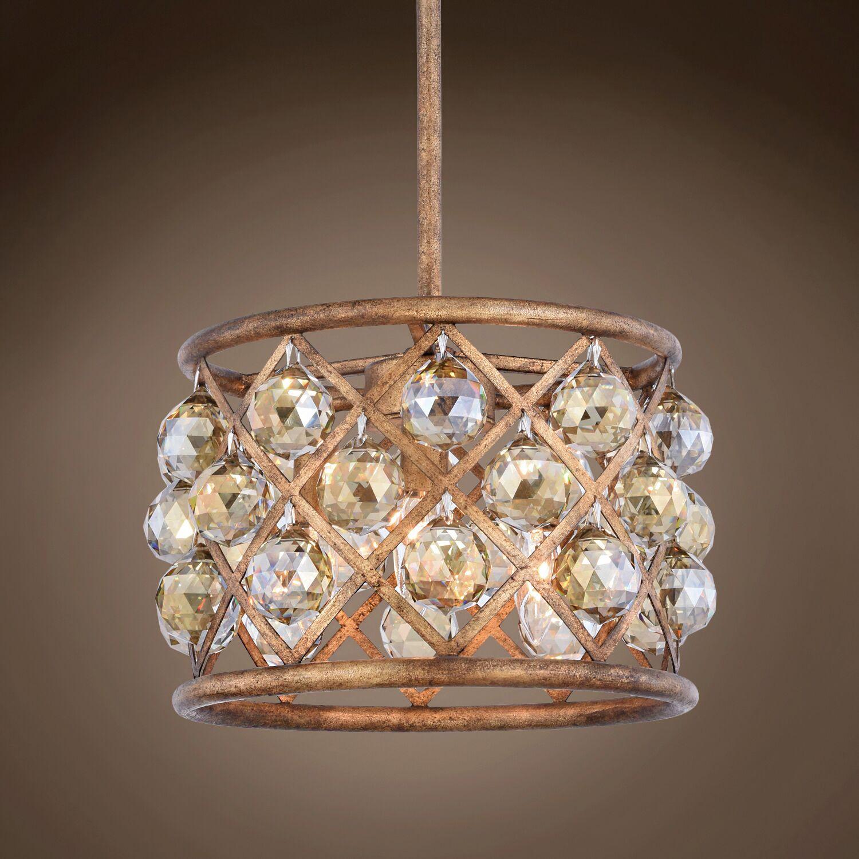 Lulsgate 3-Light Chandelier Finish: Gold, Shade Color: Golden, Bulb Type: Incandescent