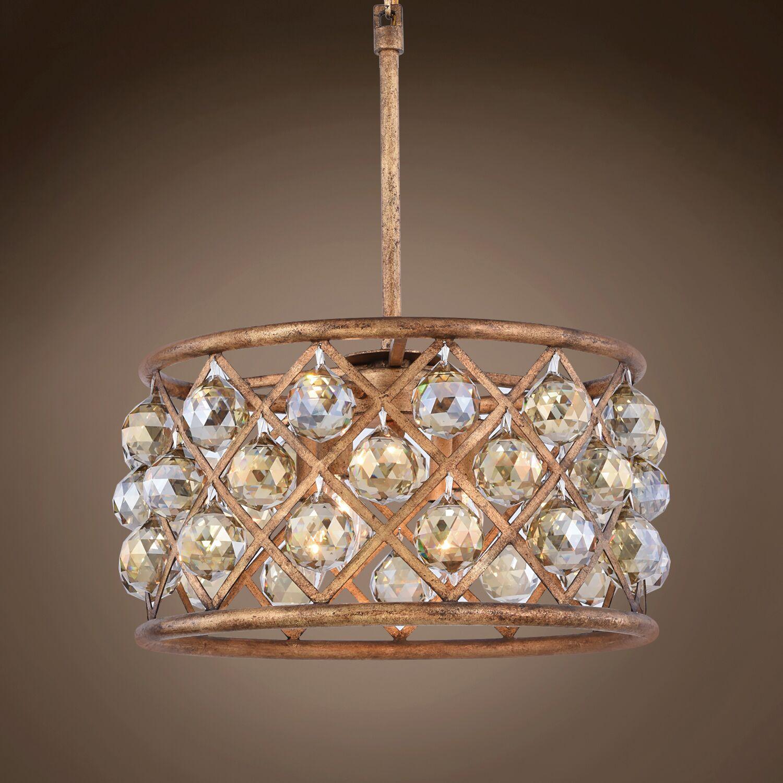Lulsgate 4-Light Chandelier Finish: Gold, Shade Color: Golden, Bulb Type: Incandescent