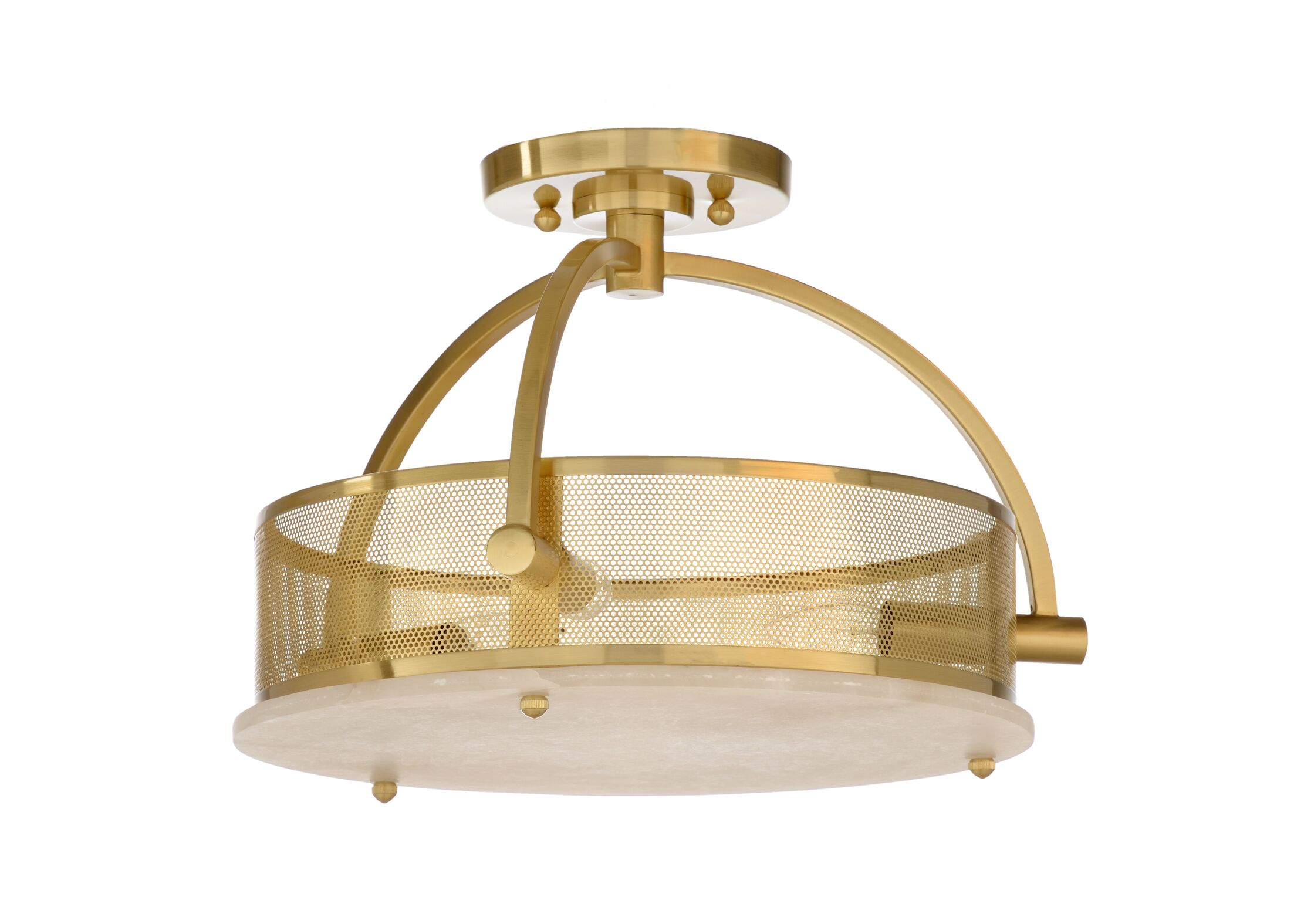 Moon 3-Light Semi Flush Mount Fixture Finish: Brass
