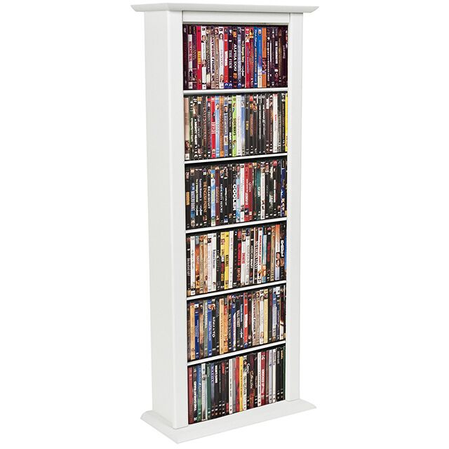 Large Single Multimedia Storage Rack Color: White