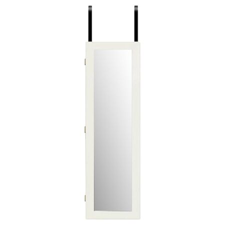Wall Mounted Jewelry Armoire with Mirror Color: White