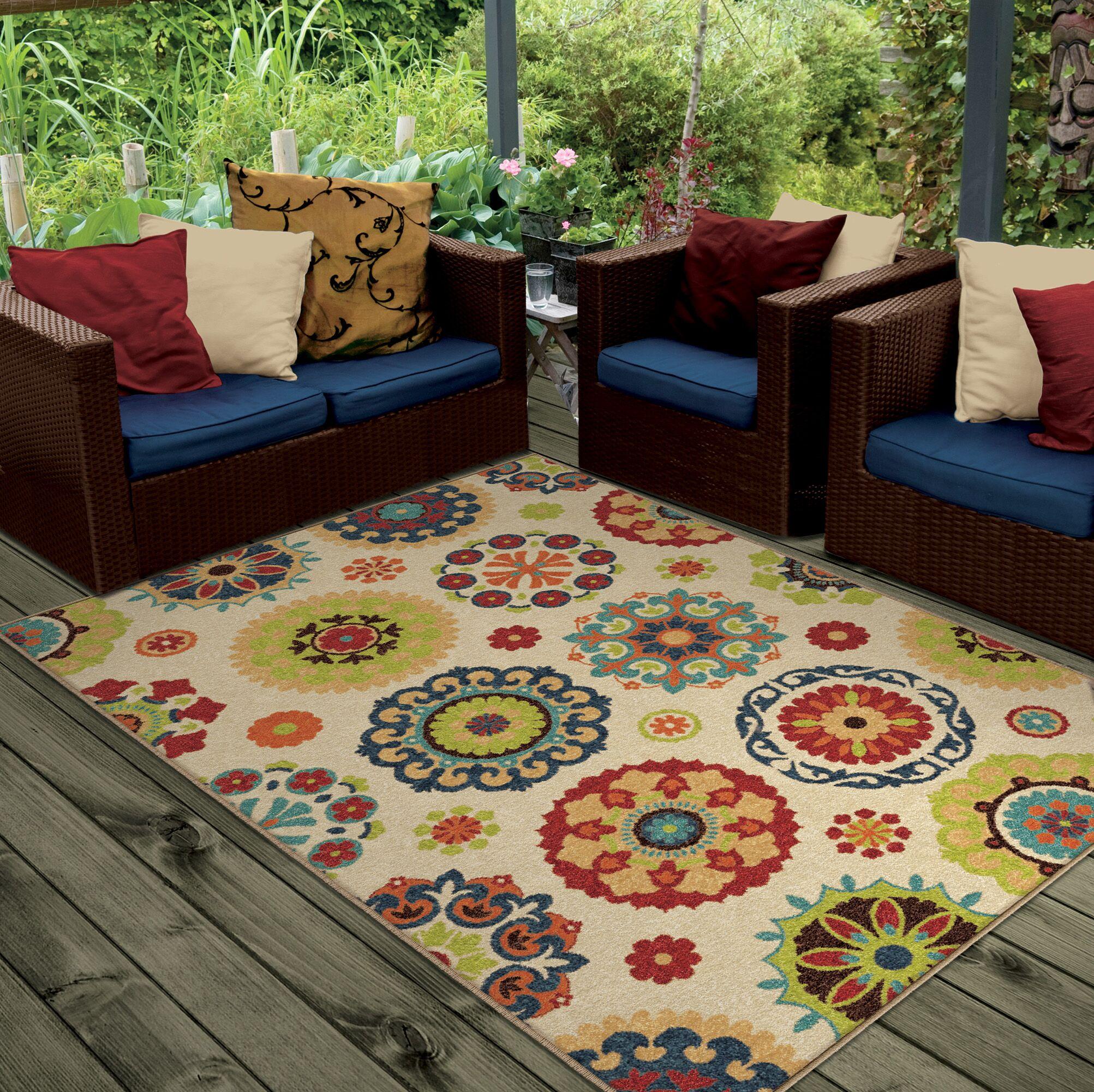 Maen Neutral Cream Indoor/Outdoor Area Rug Rug Size: Rectangle 7'8