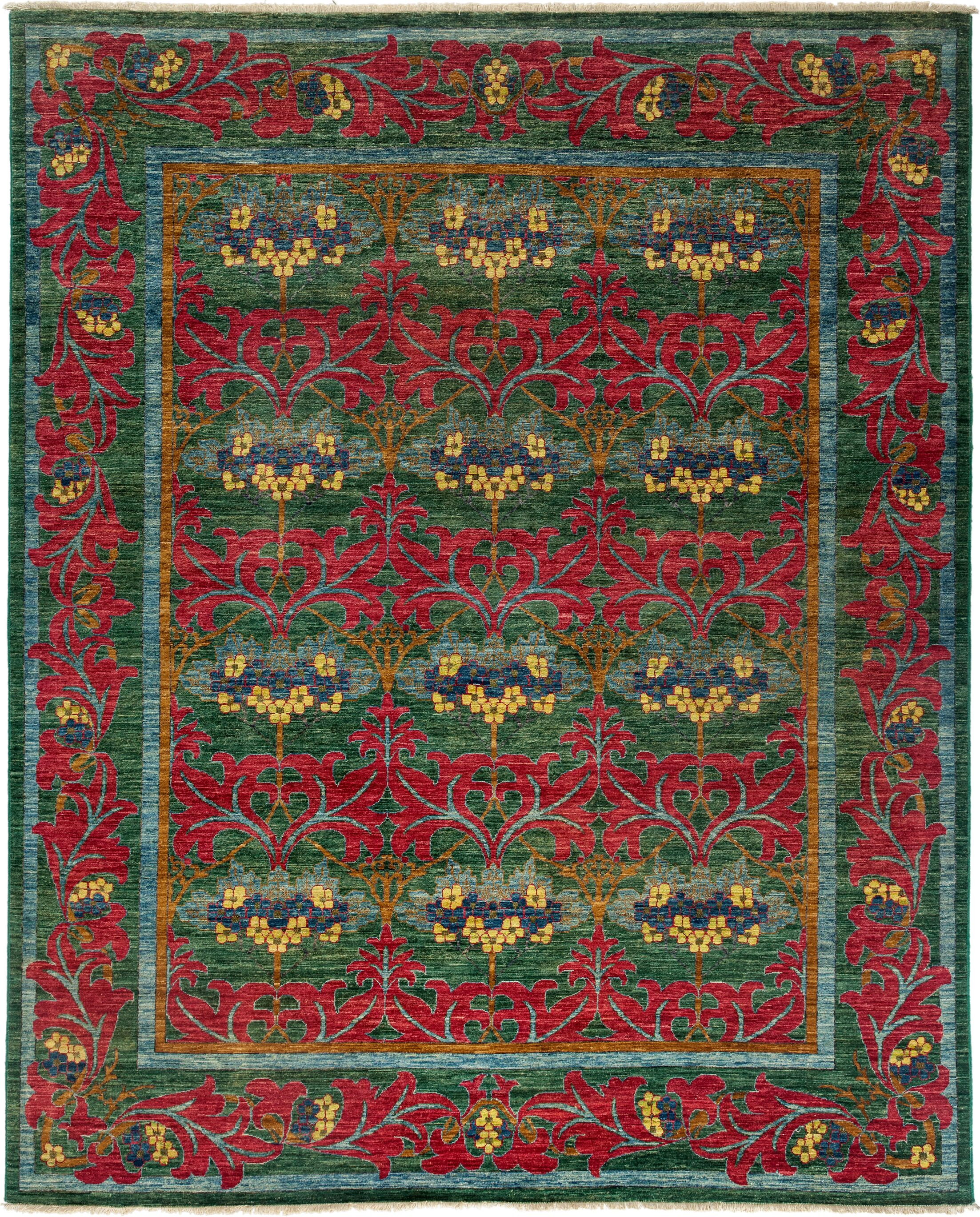 One-of-a-Kind Arts and Crafts Hand-Knotted Green / Red Area Rug