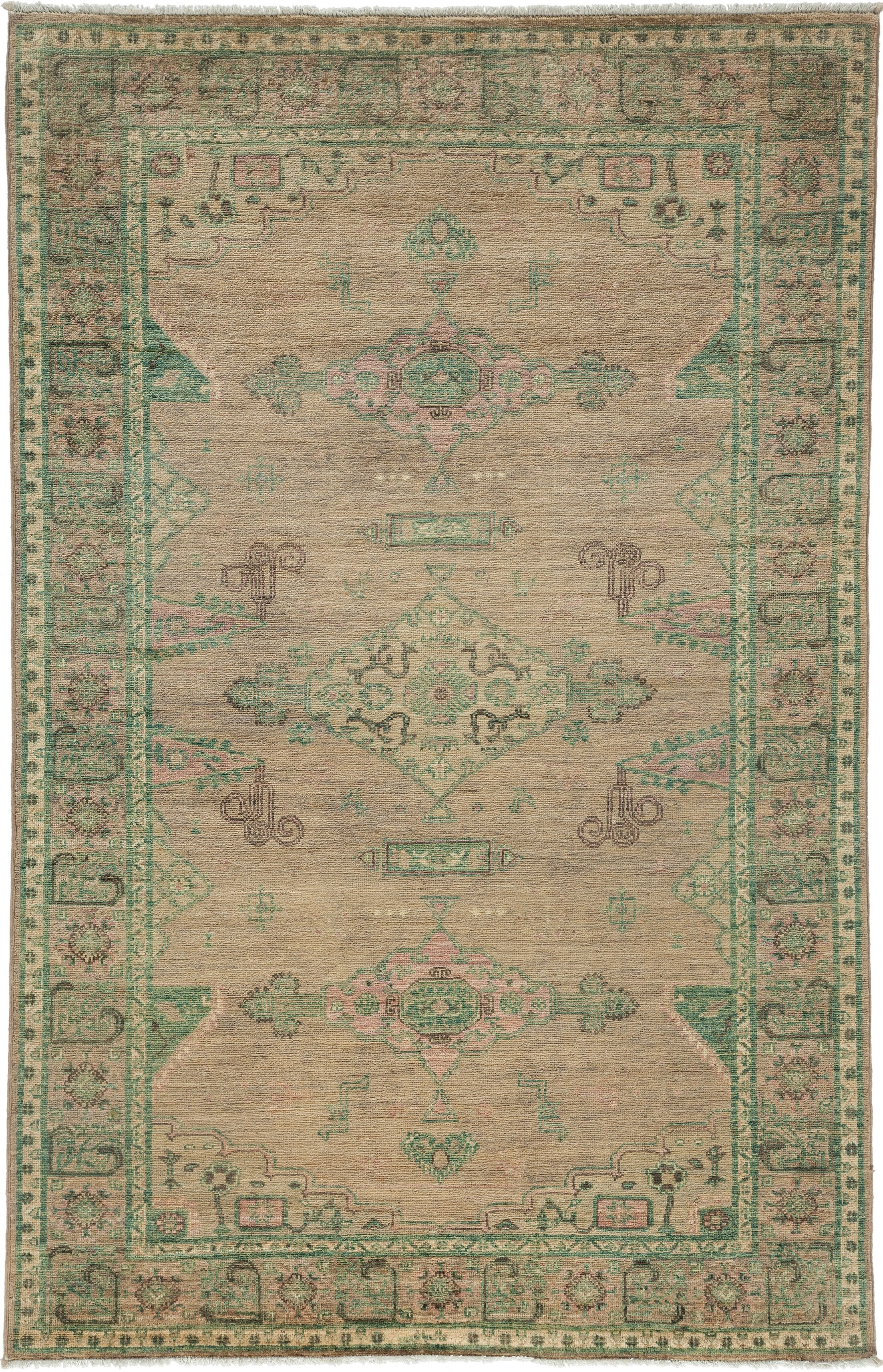 One-of-a-Kind Oushak Hand-Knotted Green / Gray Area Rug