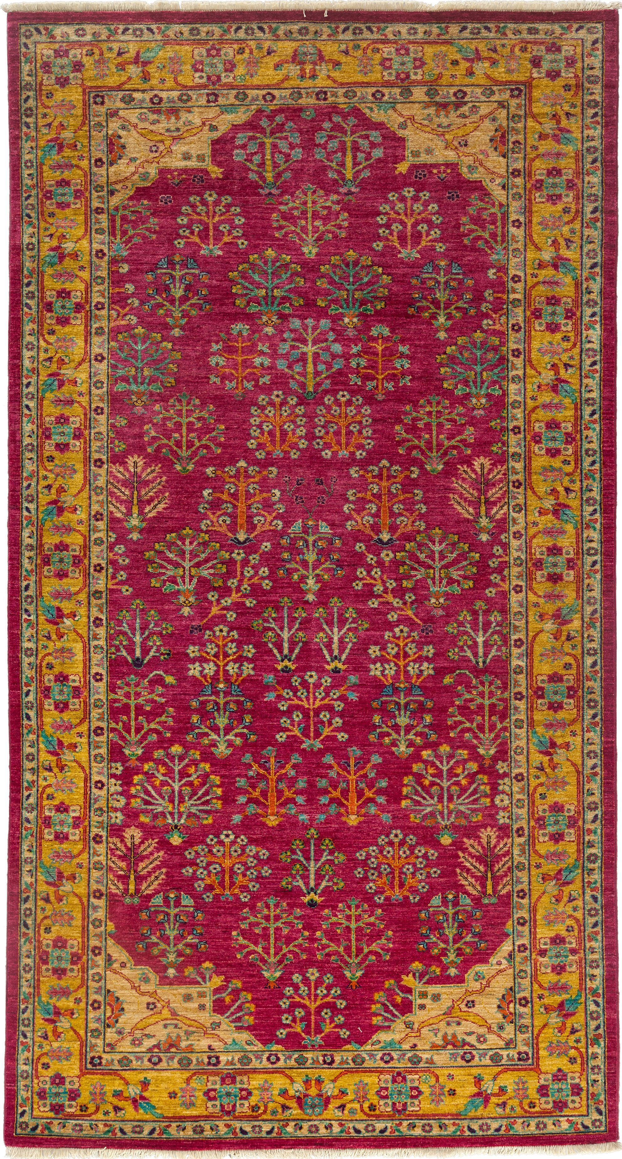 One-of-a-Kind Ziegler Hand-Knotted Pink / Yellow Area Rug