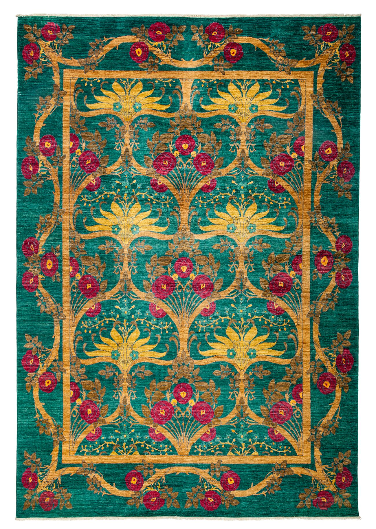 One-of-a-Kind Arts and Crafts Hand-Knotted Green / Yellow Area Rug