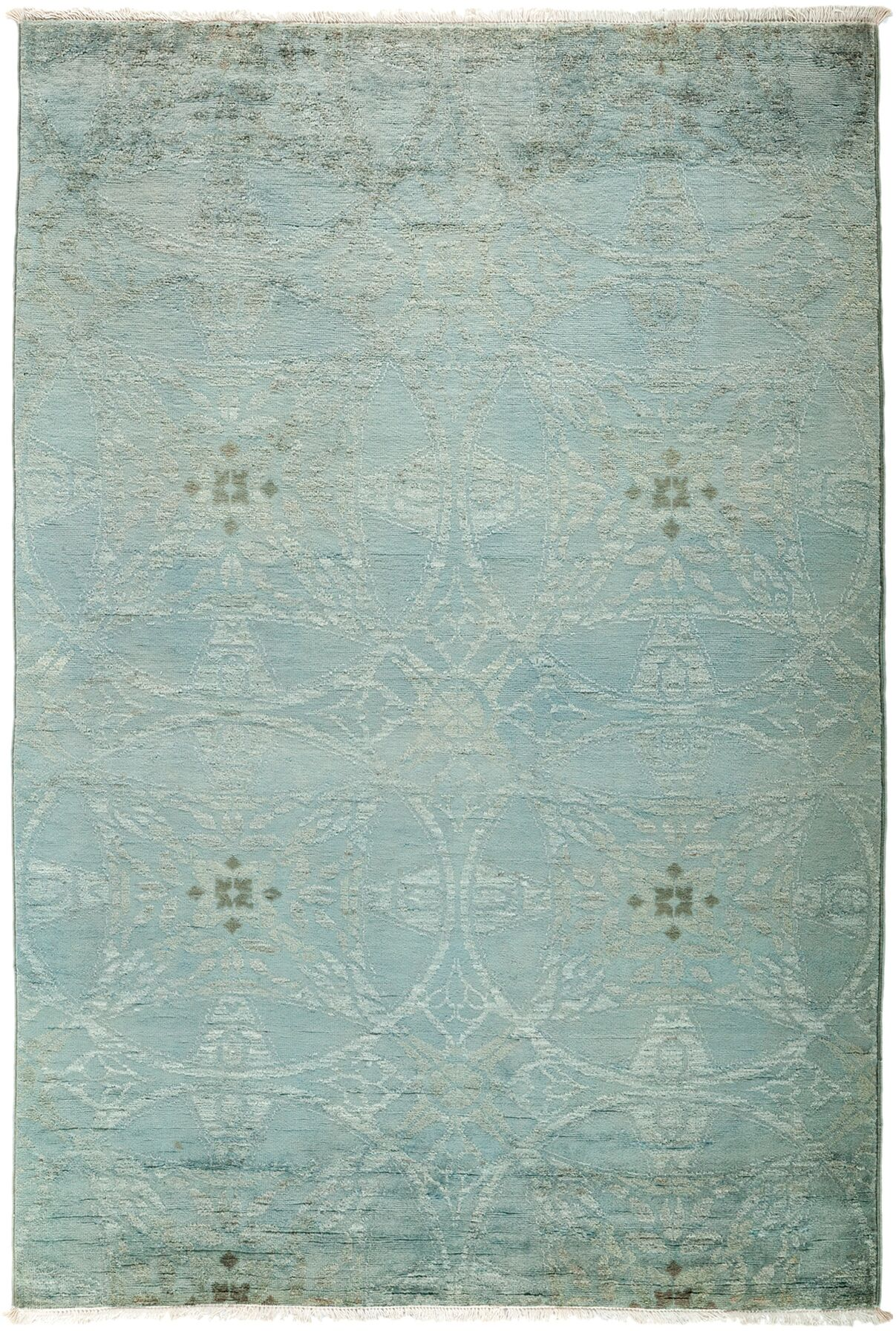 One-of-a-Kind Vibrance Hand-Knotted Blue Area Rug