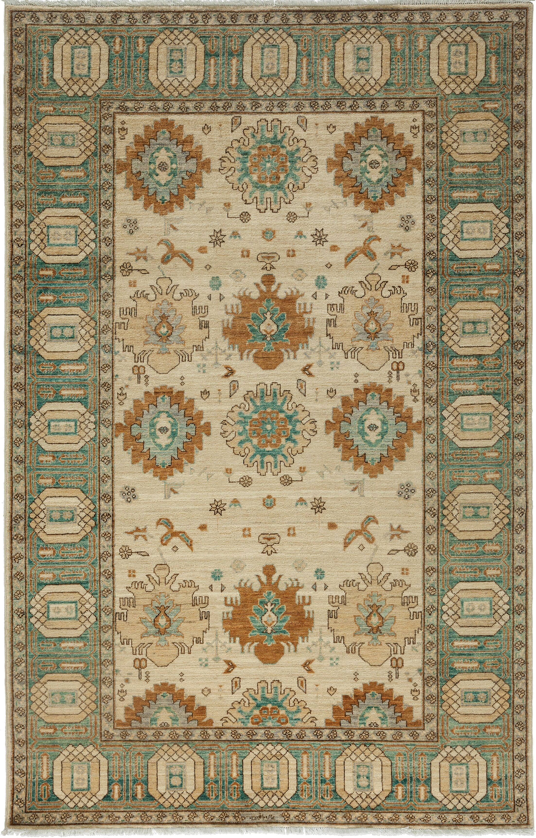 One-of-a-Kind Ziegler Hand-Knotted Ivory Area Rug Rug Size: Rectangle 5'2