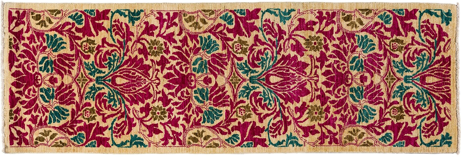 One-of-a-Kind Arts and Crafts Hand-Knotted Pink Area Rug Rug Size: Runner 2'8