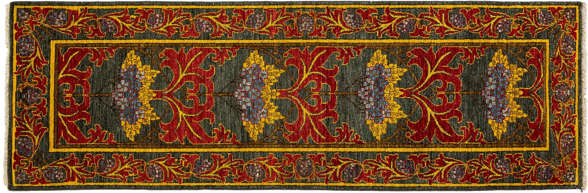 One-of-a-Kind Arts and Crafts Hand-Knotted Gray/Red Area Rug