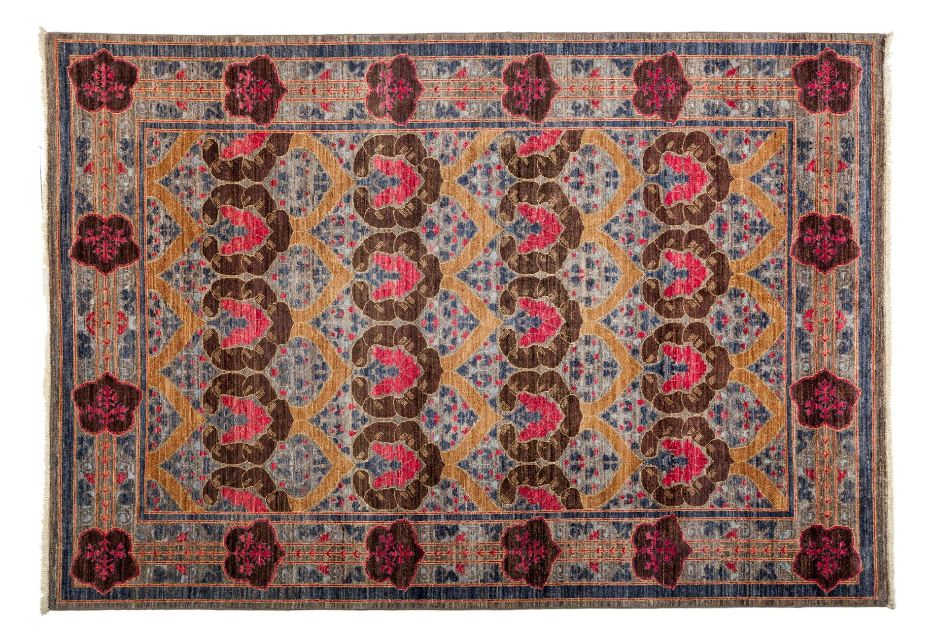 One-of-a-Kind Arts and Crafts Hand-Knotted Purple Area Rug