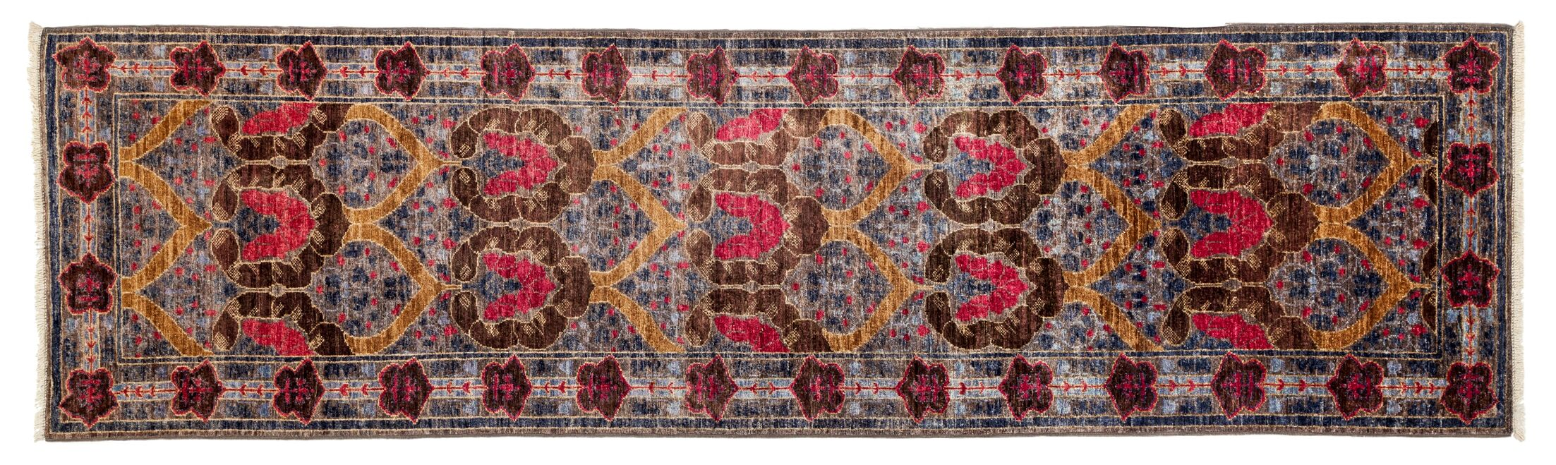 One-of-a-Kind Arts and Crafts Hand-Knotted Pink/Brown Area Rug