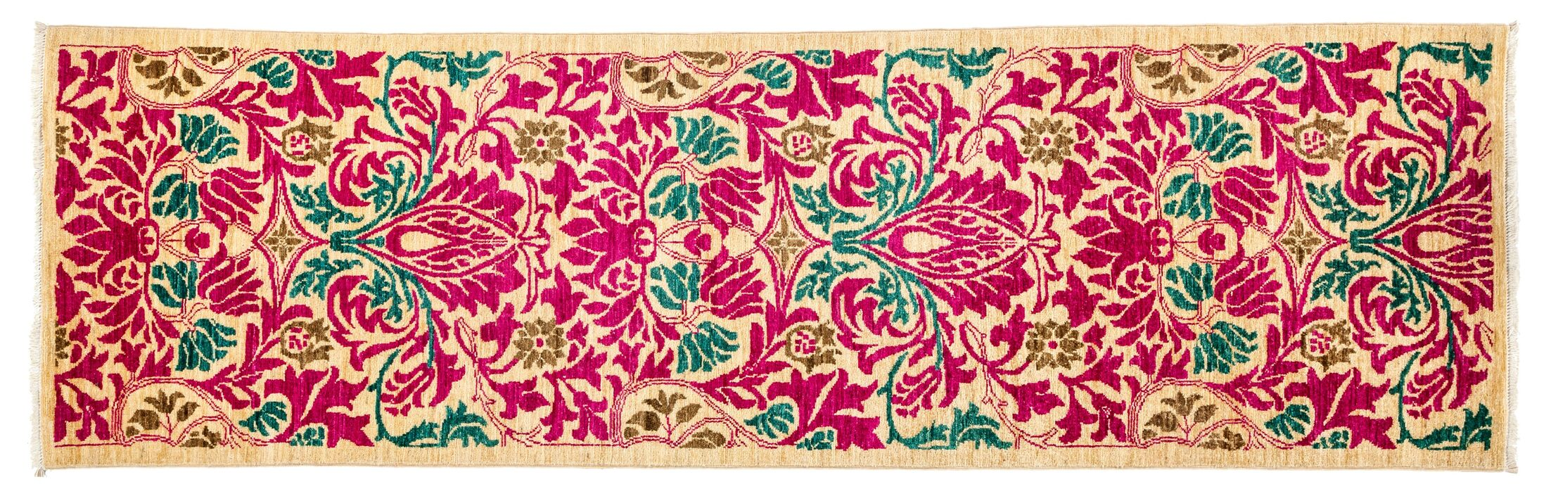 One-of-a-Kind Arts and Crafts Hand-Knotted Pink Area Rug Rug Size: Runner 2'7