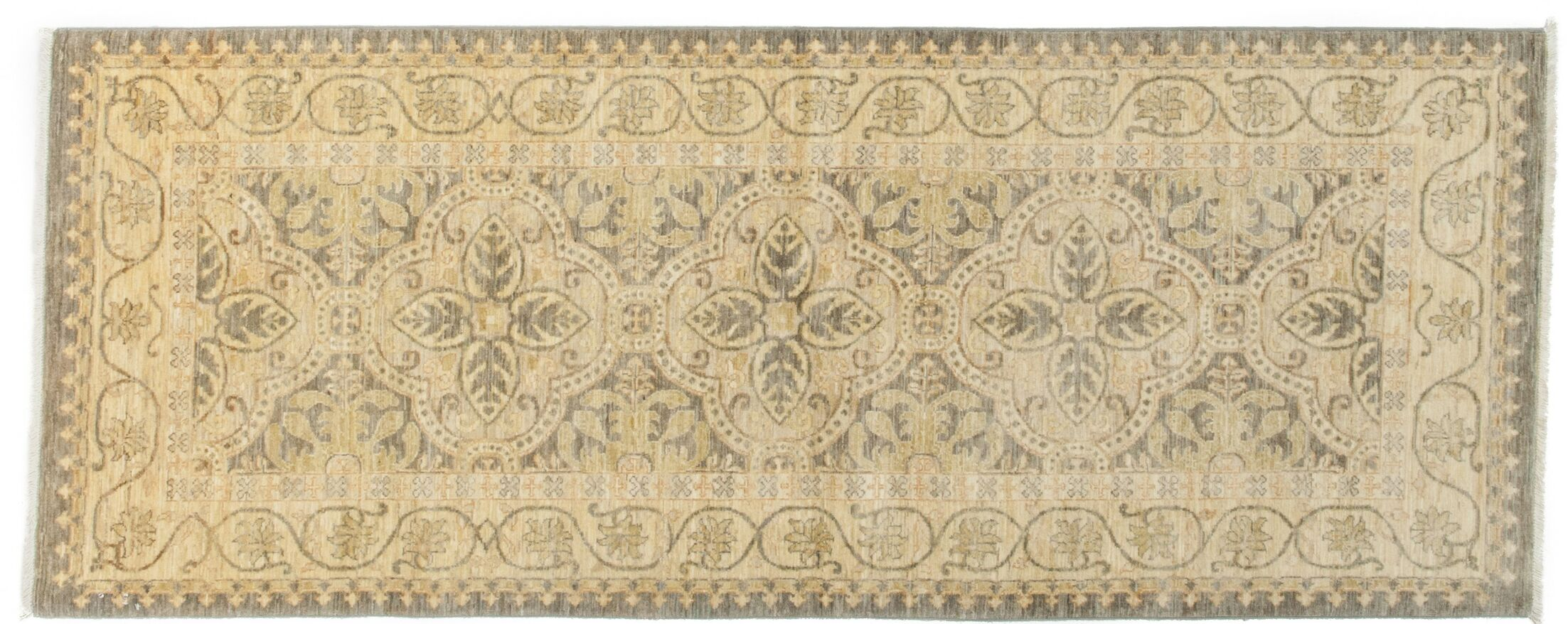 One-of-a-Kind Eclectic Hand-Knotted Beige Area Rug