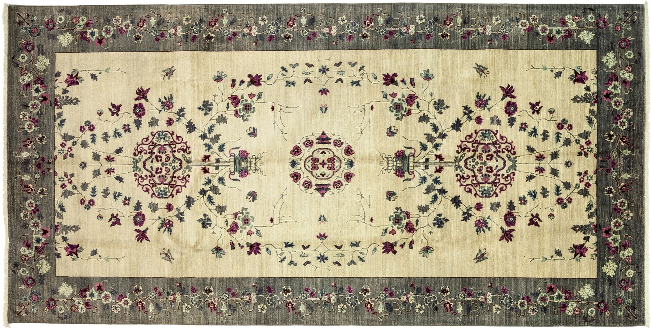 One-of-a-Kind Eclectic Hand-Knotted Ivory/Gray Area Rug