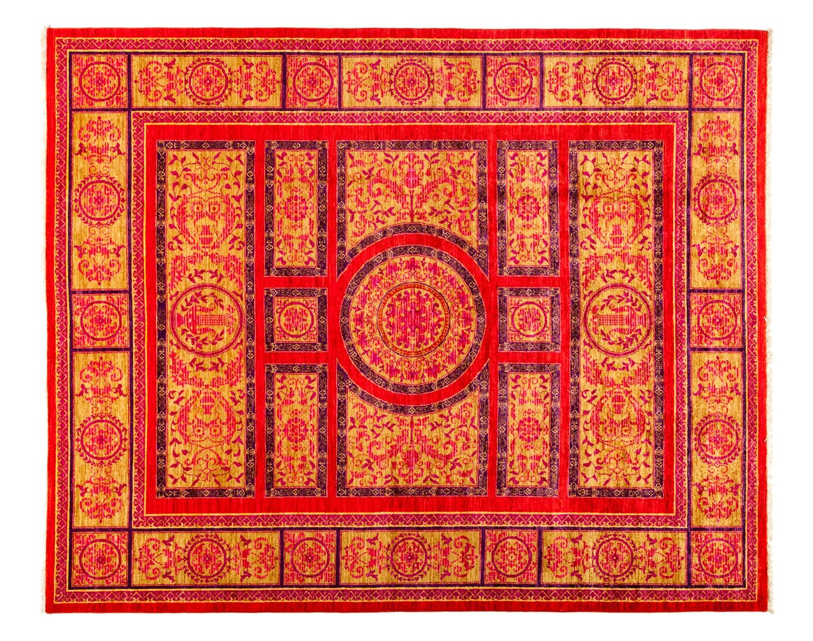 One-of-a-Kind Eclectic Hand-Knotted Red Area Rug