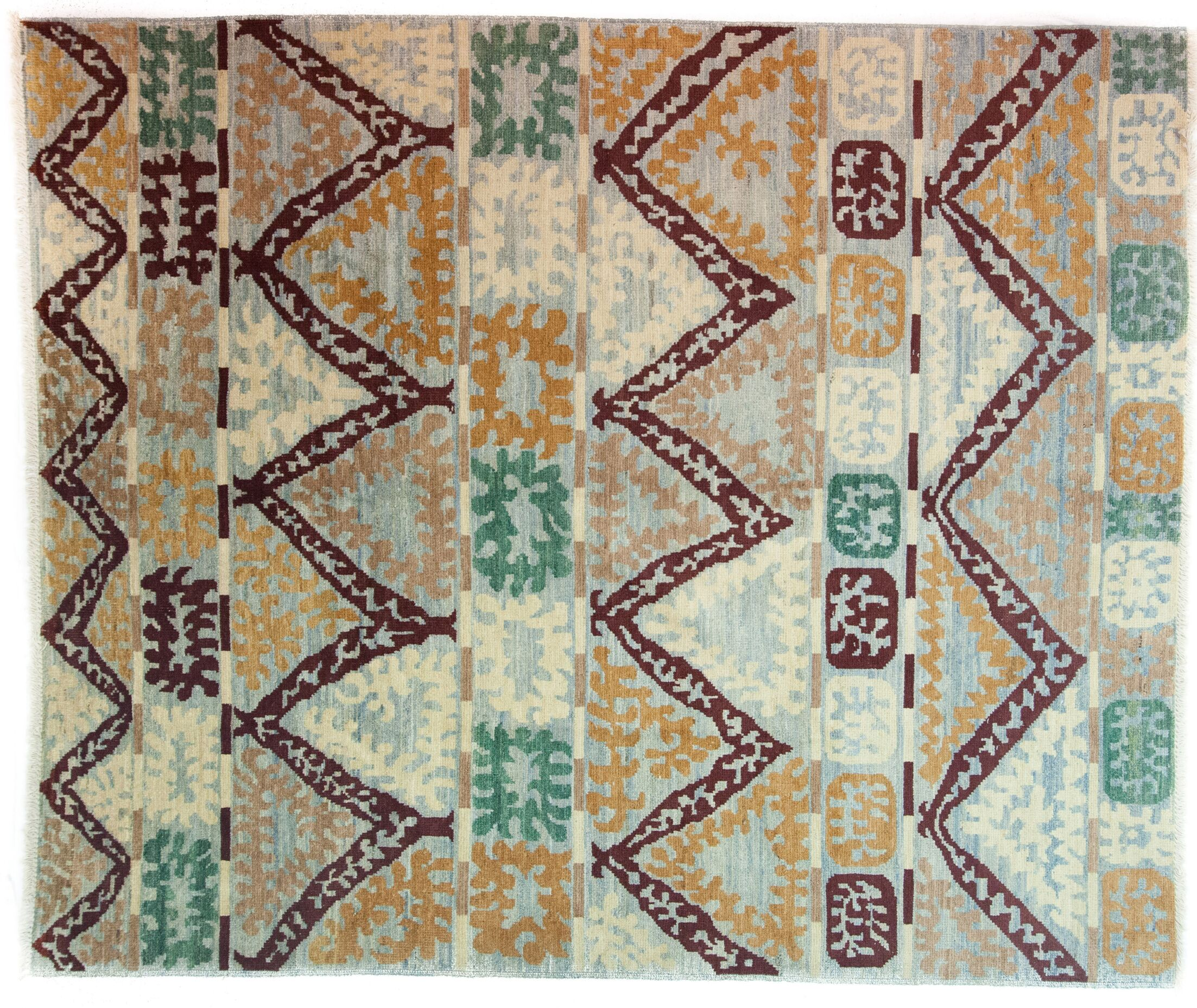 One-of-a-Kind Kaitag Hand-Knotted Blue/Brown Area Rug