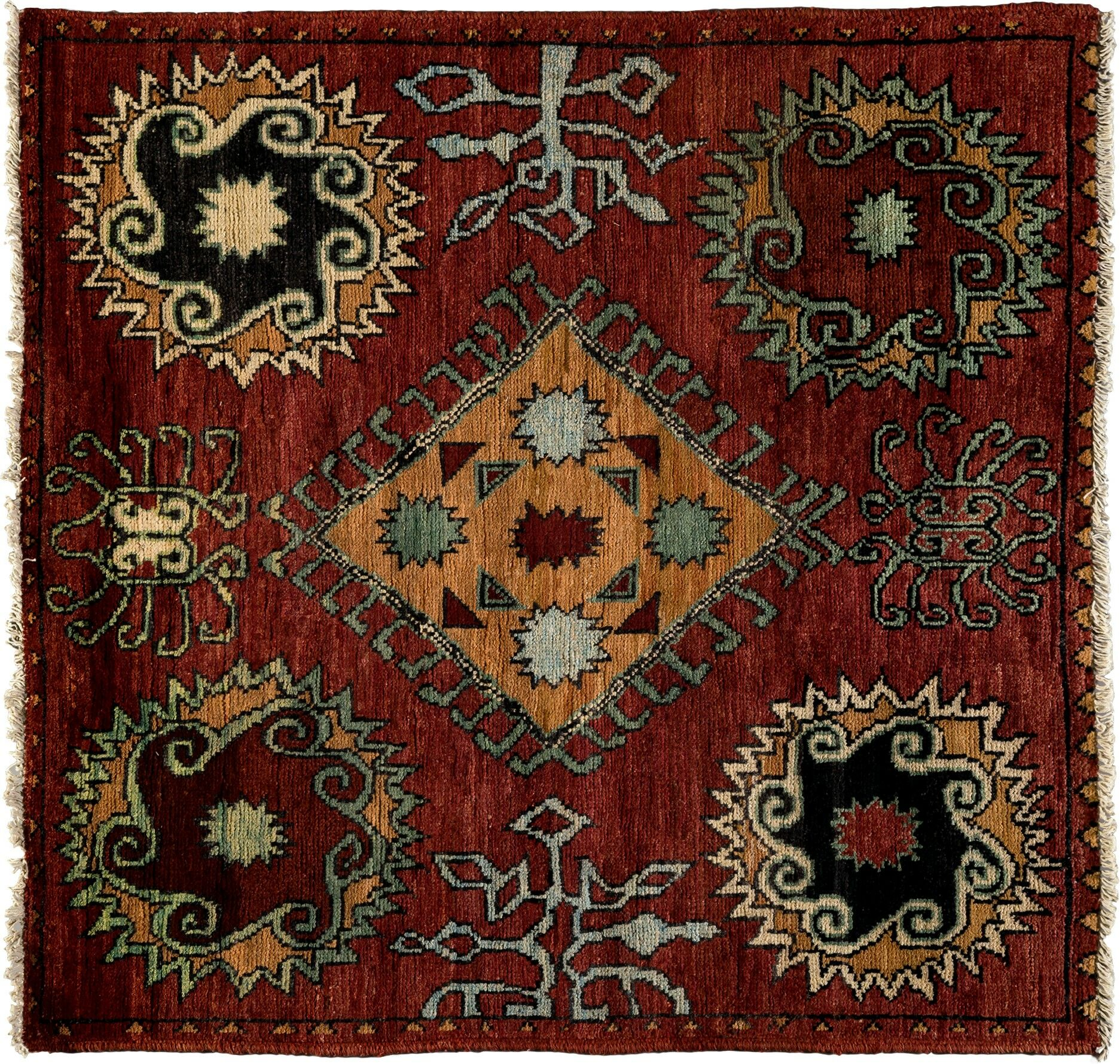 One-of-a-Kind Kaitag Hand-Knotted Red Area Rug